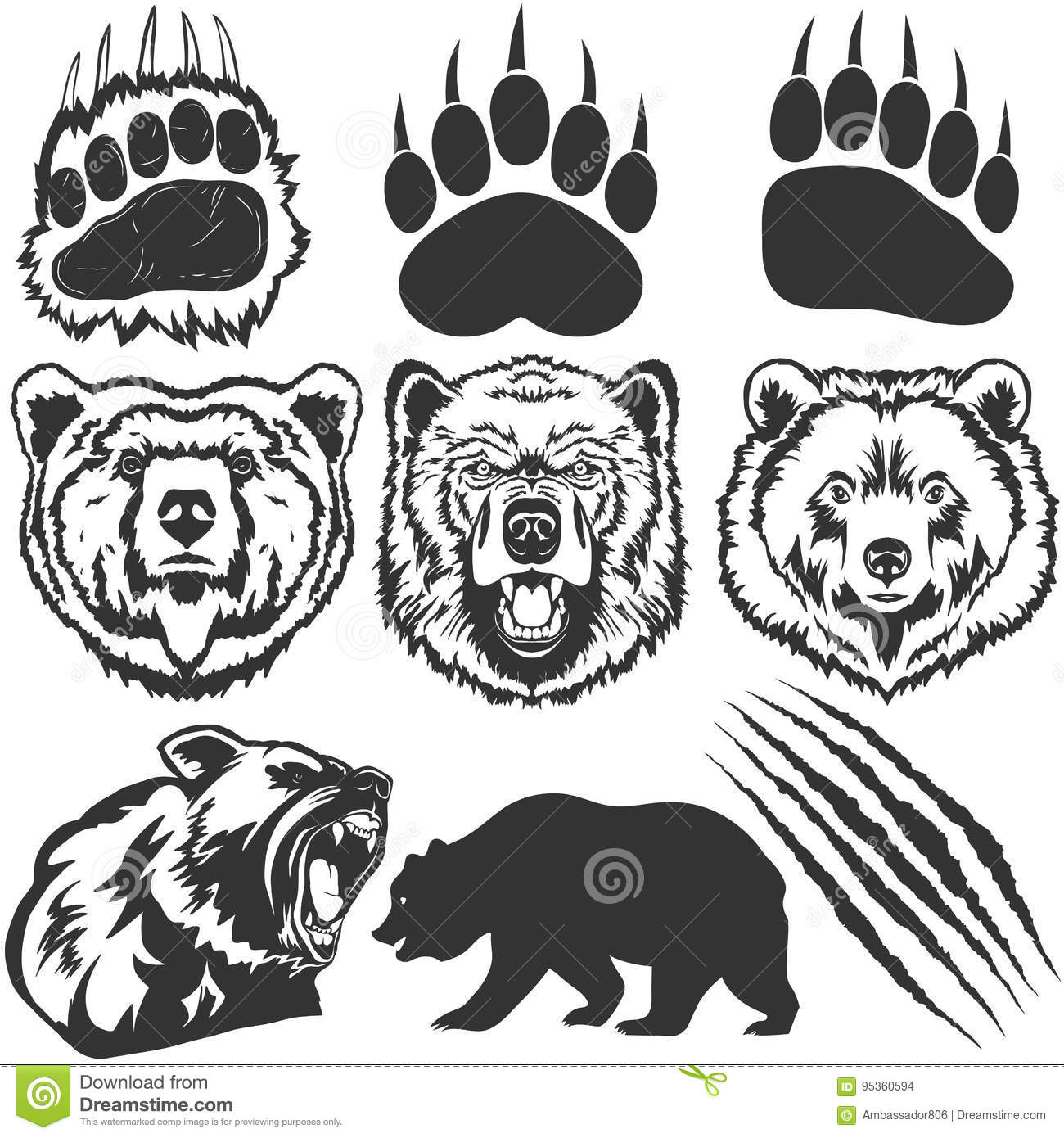 Claw cartoons illustrations vector stock images 14509 for Bear footprints template