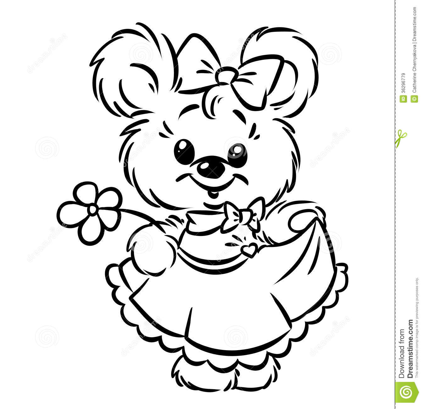 Teddy bears free coloring pages on art coloring pages - Bear Girl Flower Coloring Pages Royalty Free Stock Images