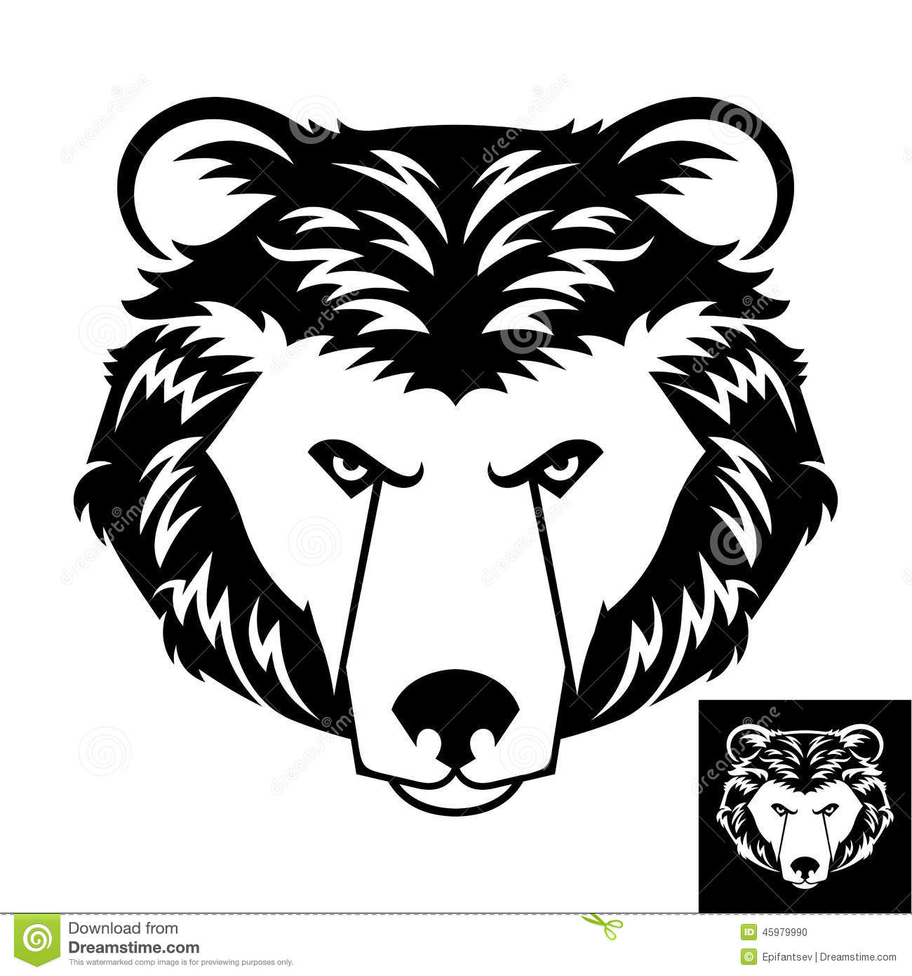 Bear head logo or icon in black and white. This is vector illustration ...