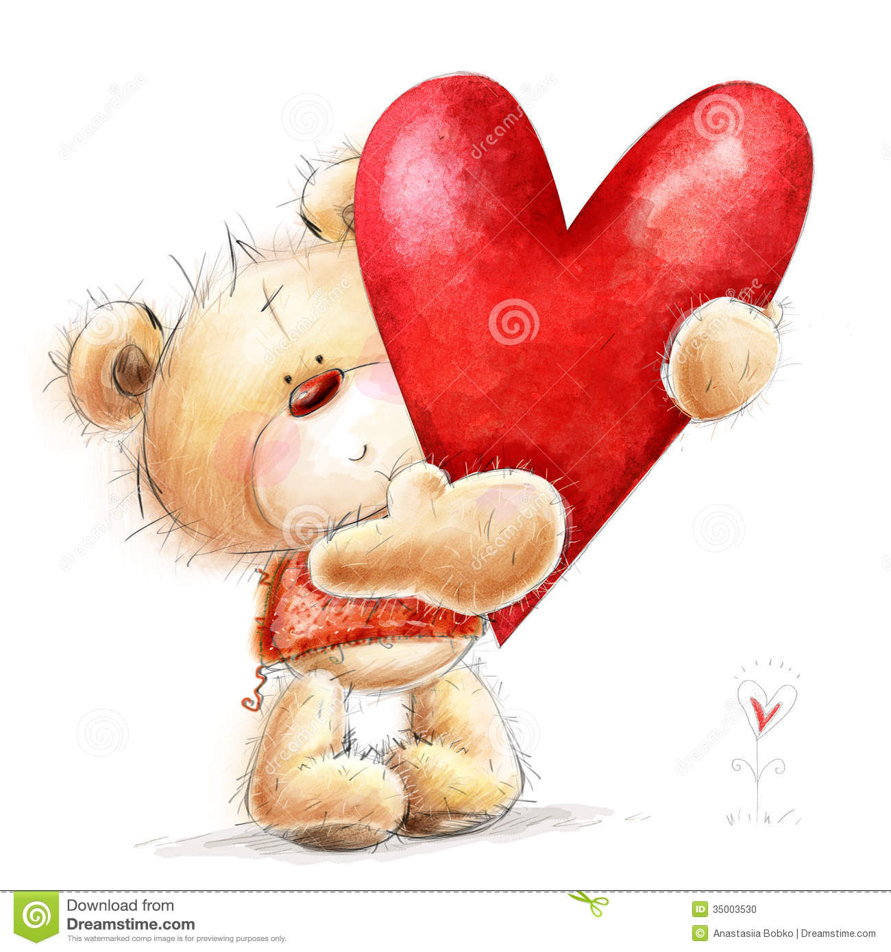 teddy bear with the big red heart childish illust stock photo