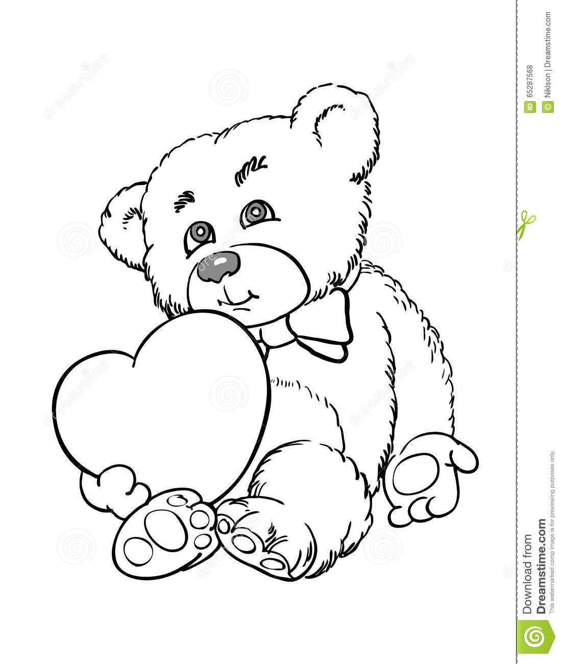 how to draw a teddy bear with heart