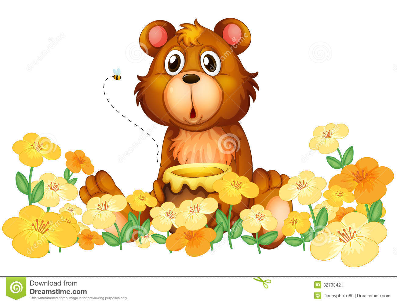 Bear With A Honey At The Garden Stock Image - Image: 32733421