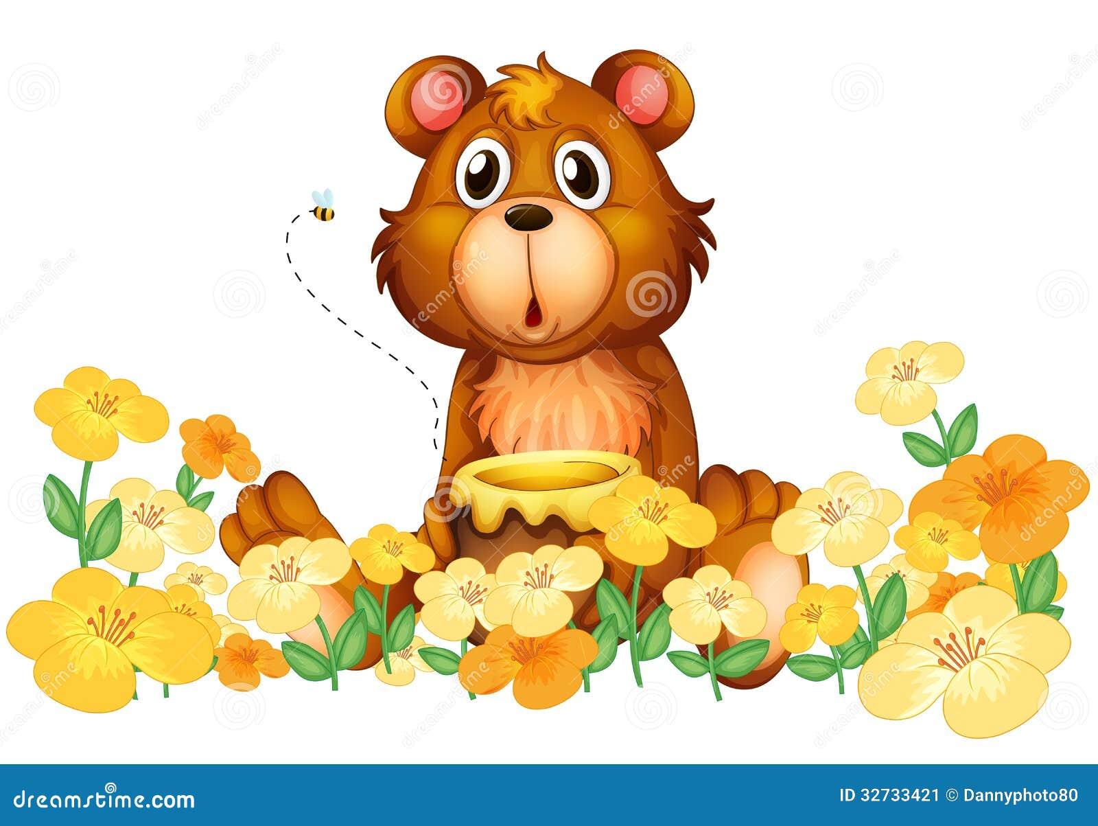 A bear with a honey at the Honey Bear Illustration