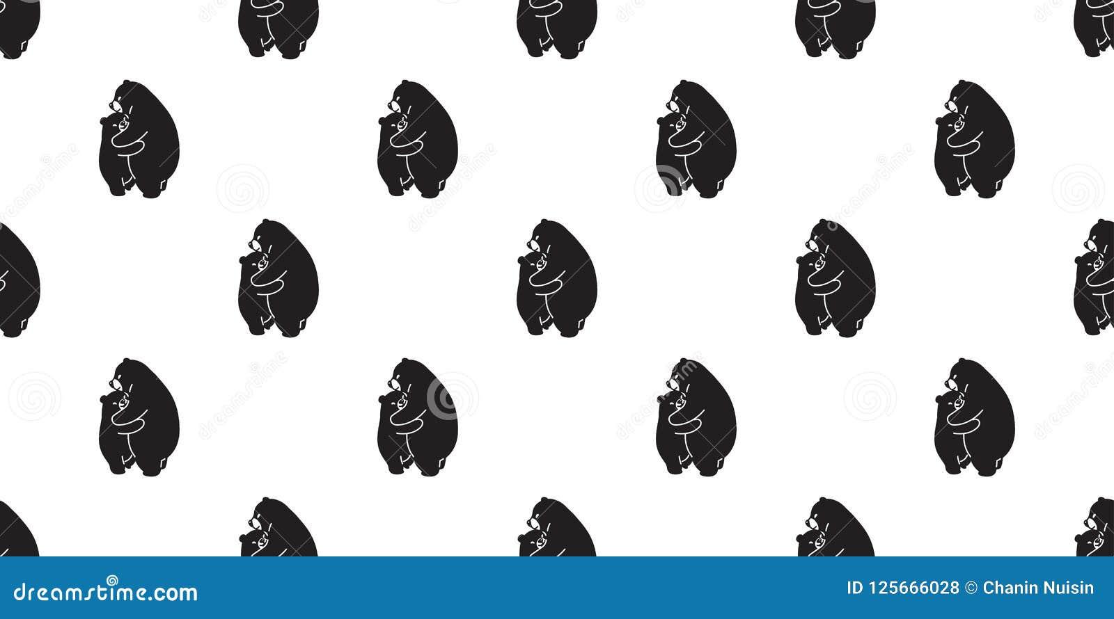 Bear Hug Seamless Pattern Polar Bear Vector Isolated Panda Wallpaper