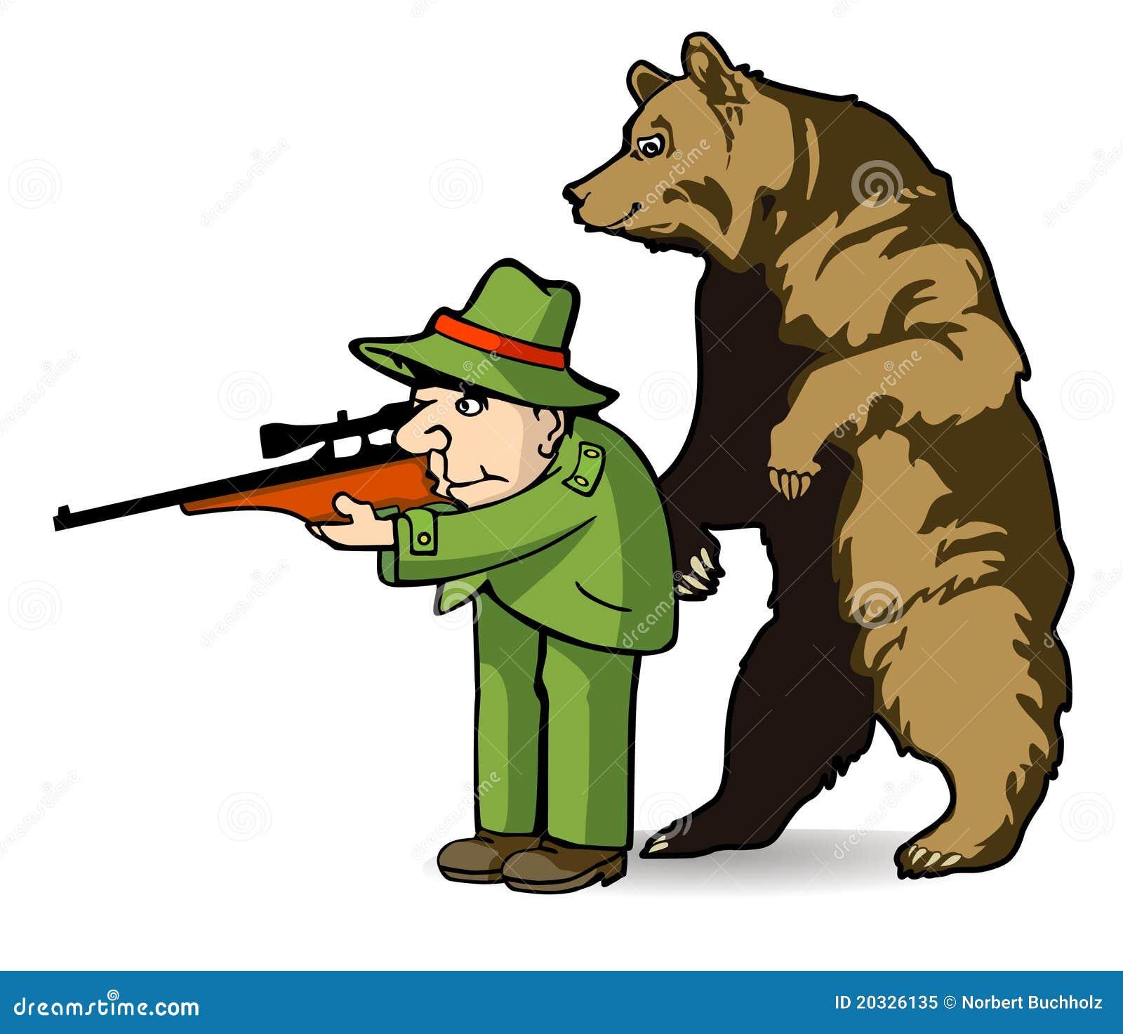 Bear and hunter cartoon bear hunter