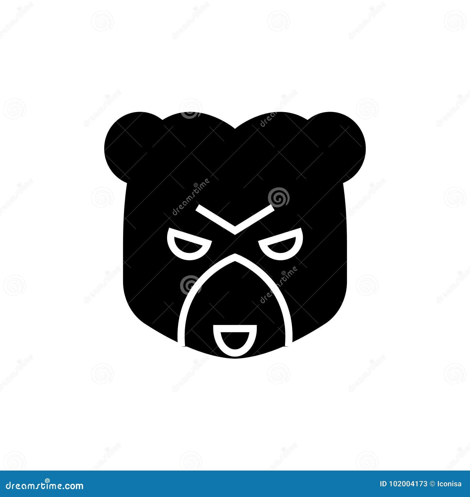 Bear market icon, vector illustration, black sign on isolated background
