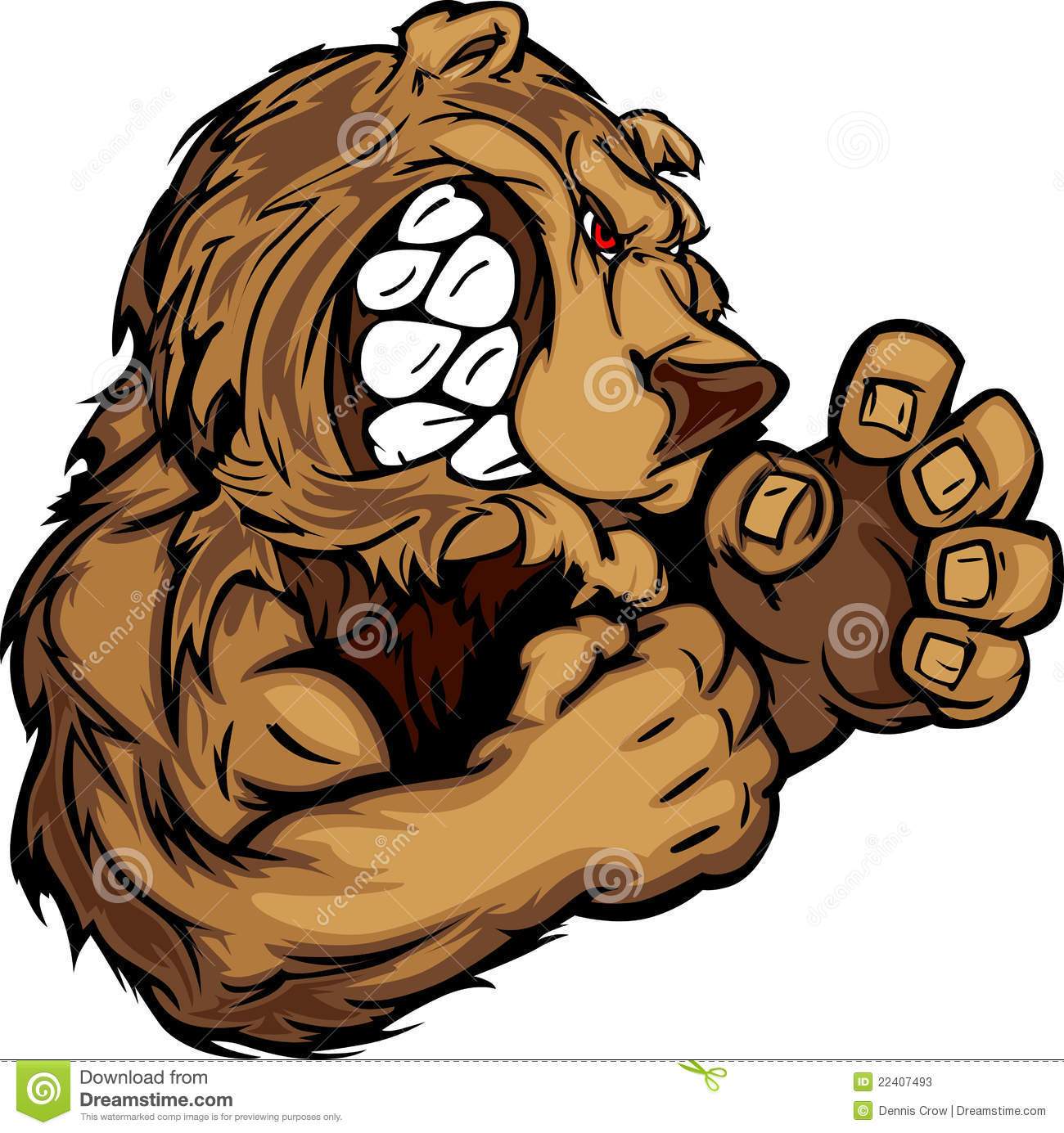 bear mascot with fighting hands graphic image stock vector