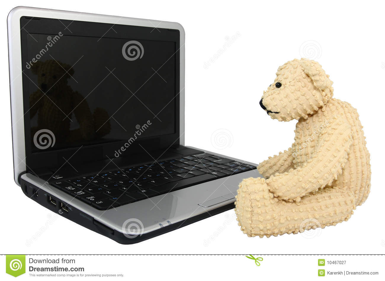 Bear With Mini Lap Top Computer Stock Image Of Concept Download Portable