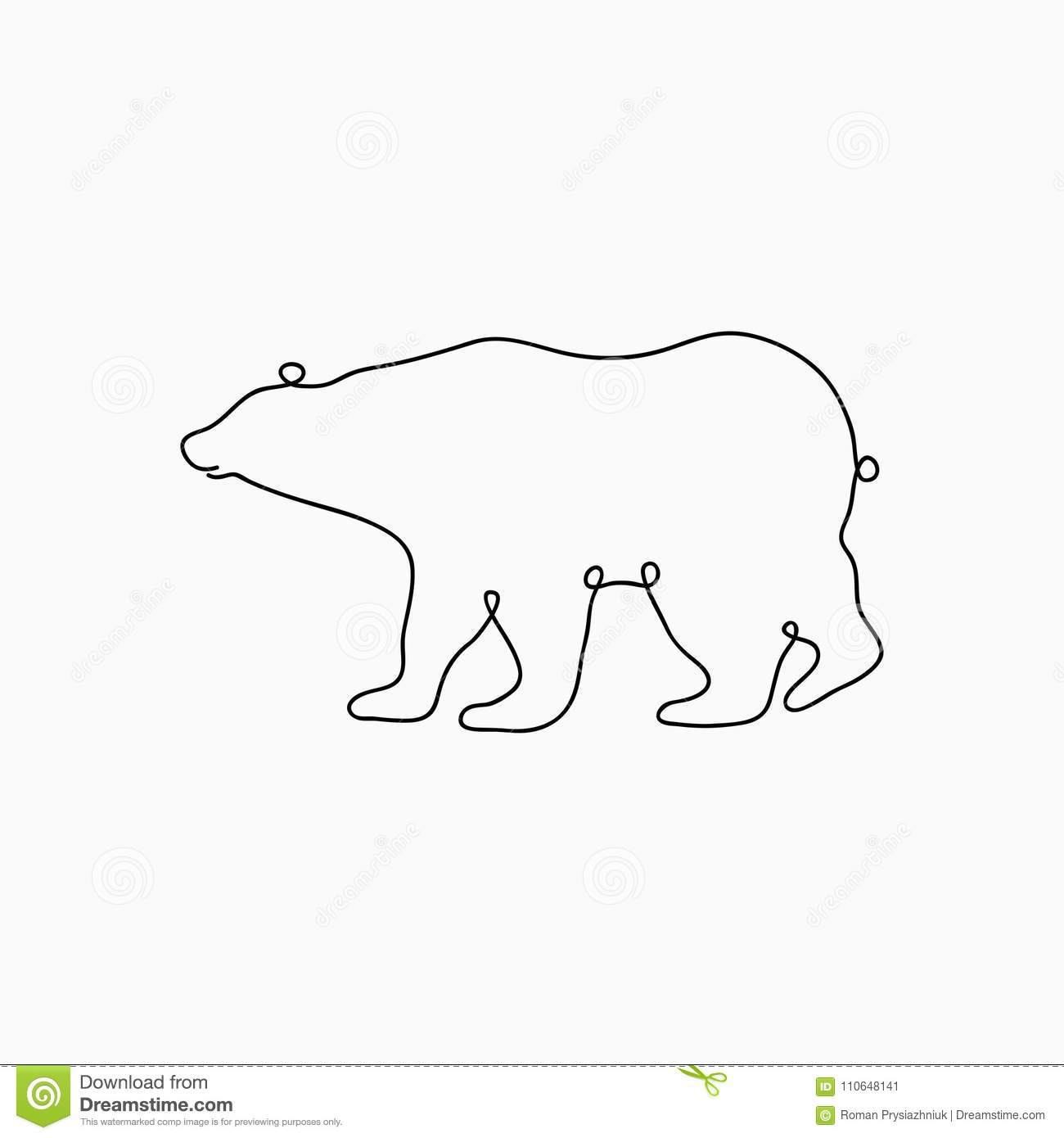 One Line Art Bear : Bear one line drawing continuous animal print hand