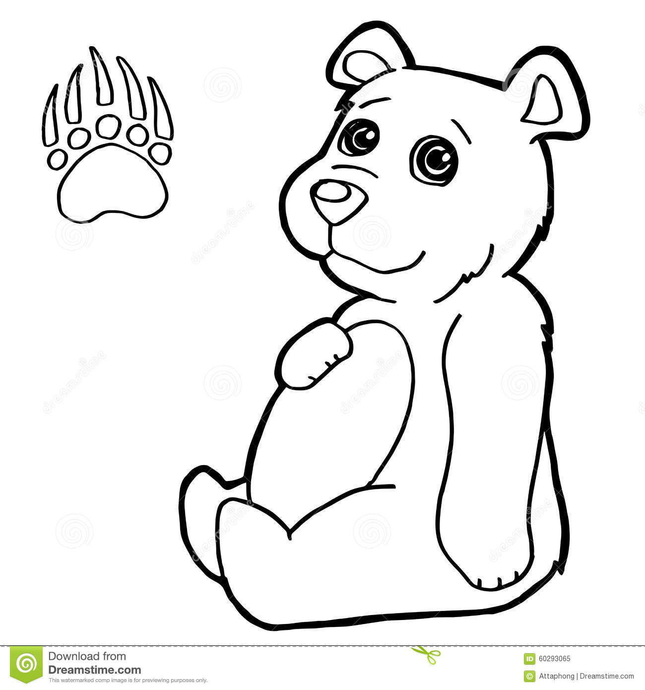 Bear With Paw Print Coloring Page Vector Stock Vector Illustration