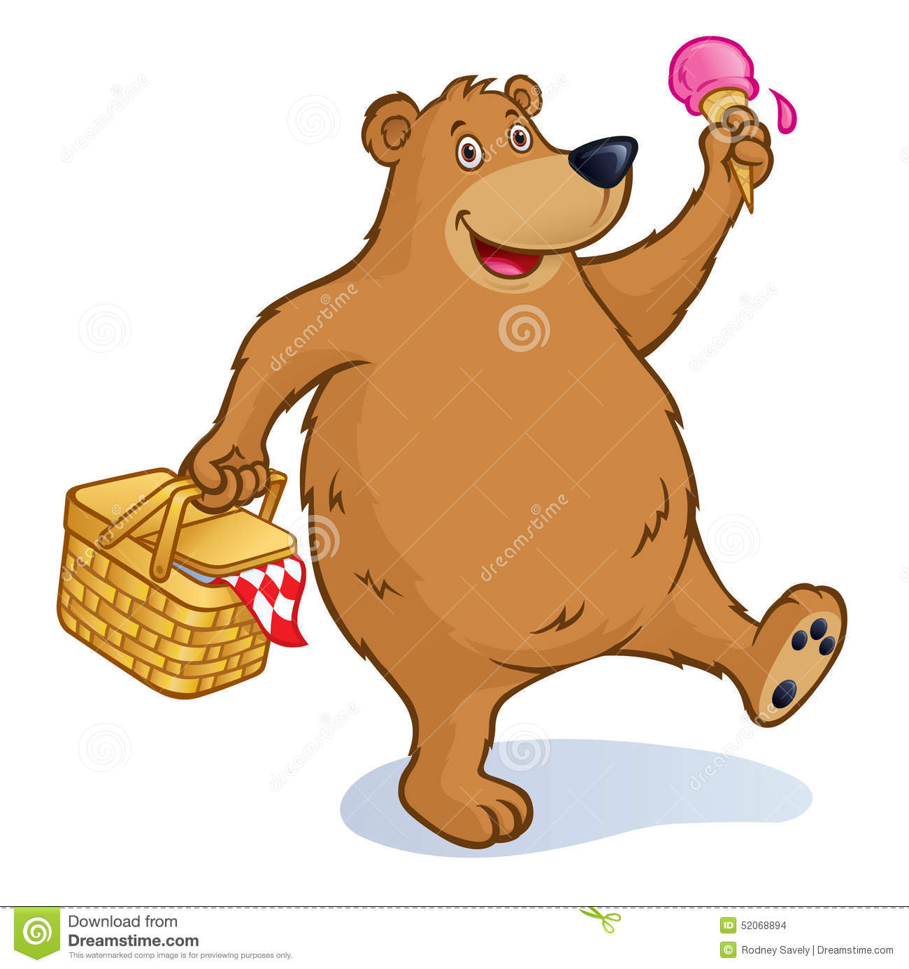 Bear With Picnic Basket And Ice Cream Cone Stock