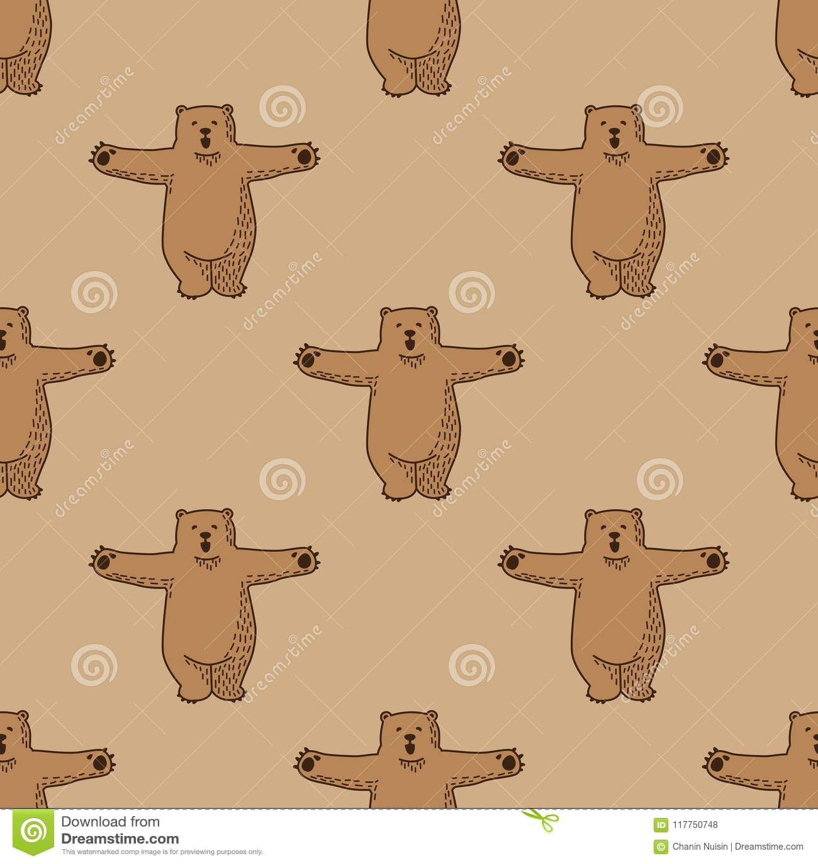 Bear Polar Bear Hug Seamless Pattern Vector Isolated Wallpaper