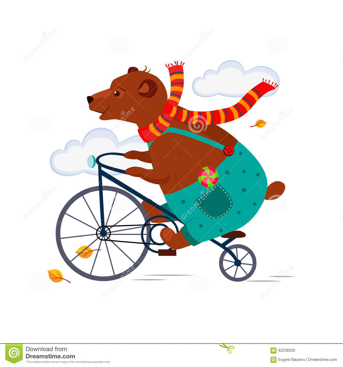 Happy Bear Riding A Bicycle Vector Illustration ...