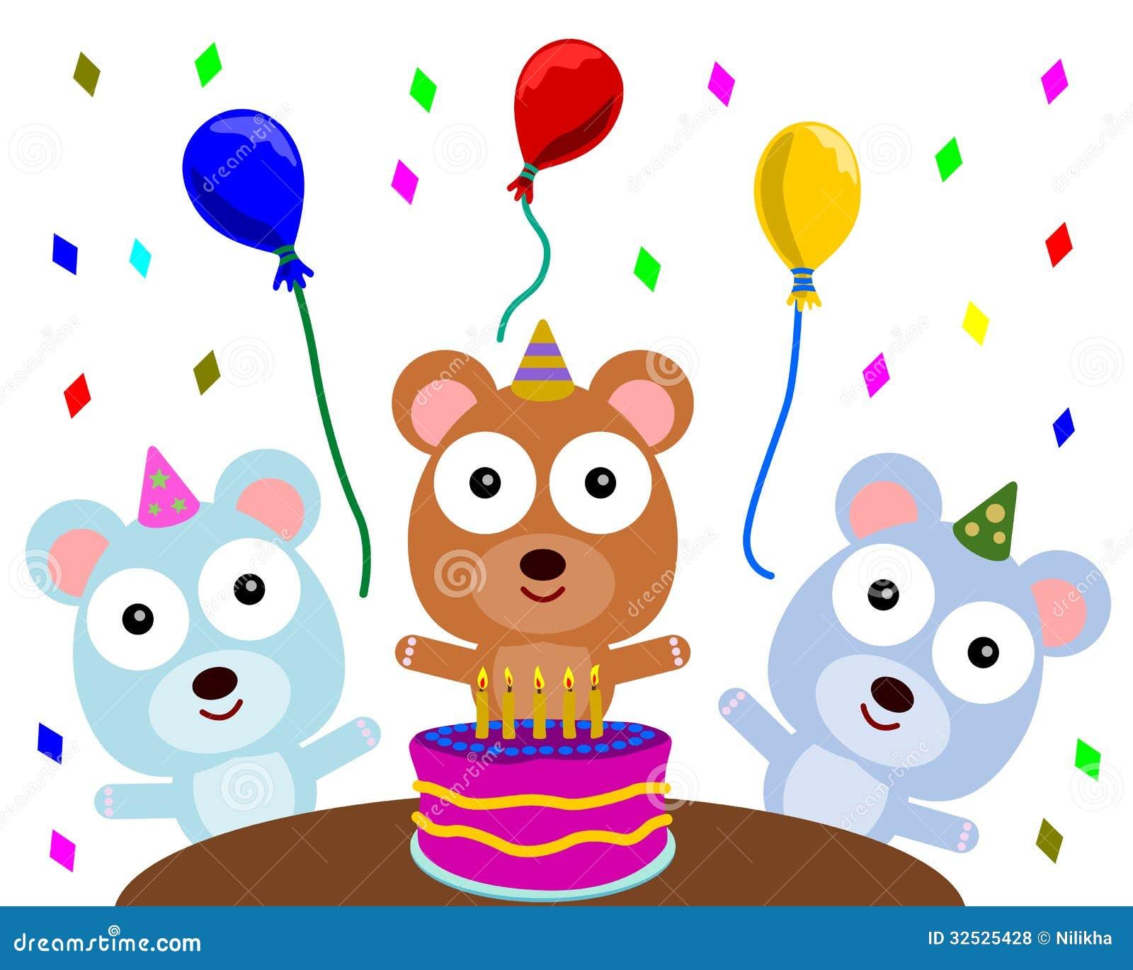 Bear S Birthday Party Stock Illustration Illustration Of