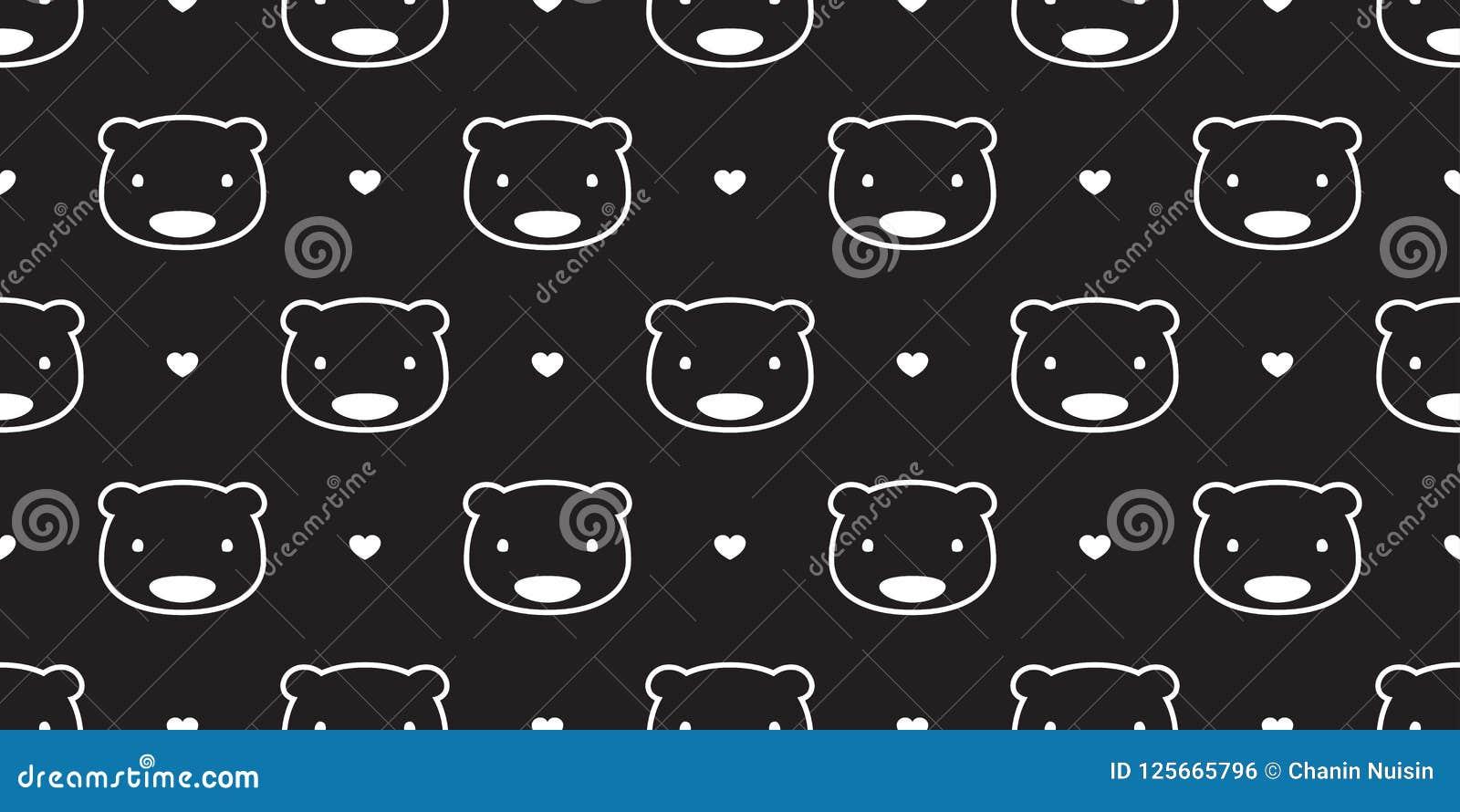 Bear Seamless Pattern Polar Bear Vector Panda Heart Valentine Love