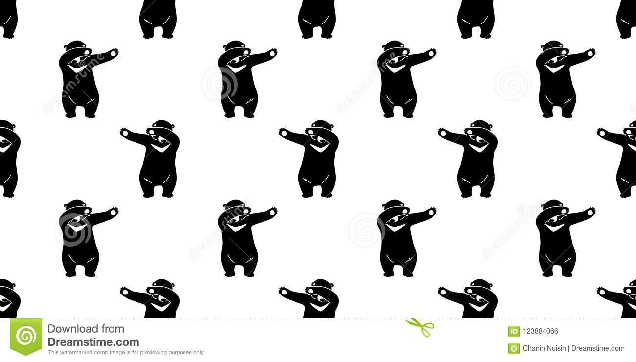 bear seamless pattern polar bear vector teddy dab dance isolated
