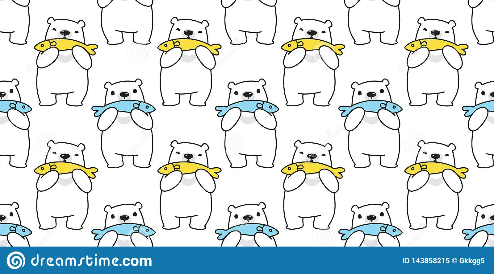 Bear seamless pattern polar bear vector fish tuna salmon cartoon repeat wallpaper tile background scarf isolated