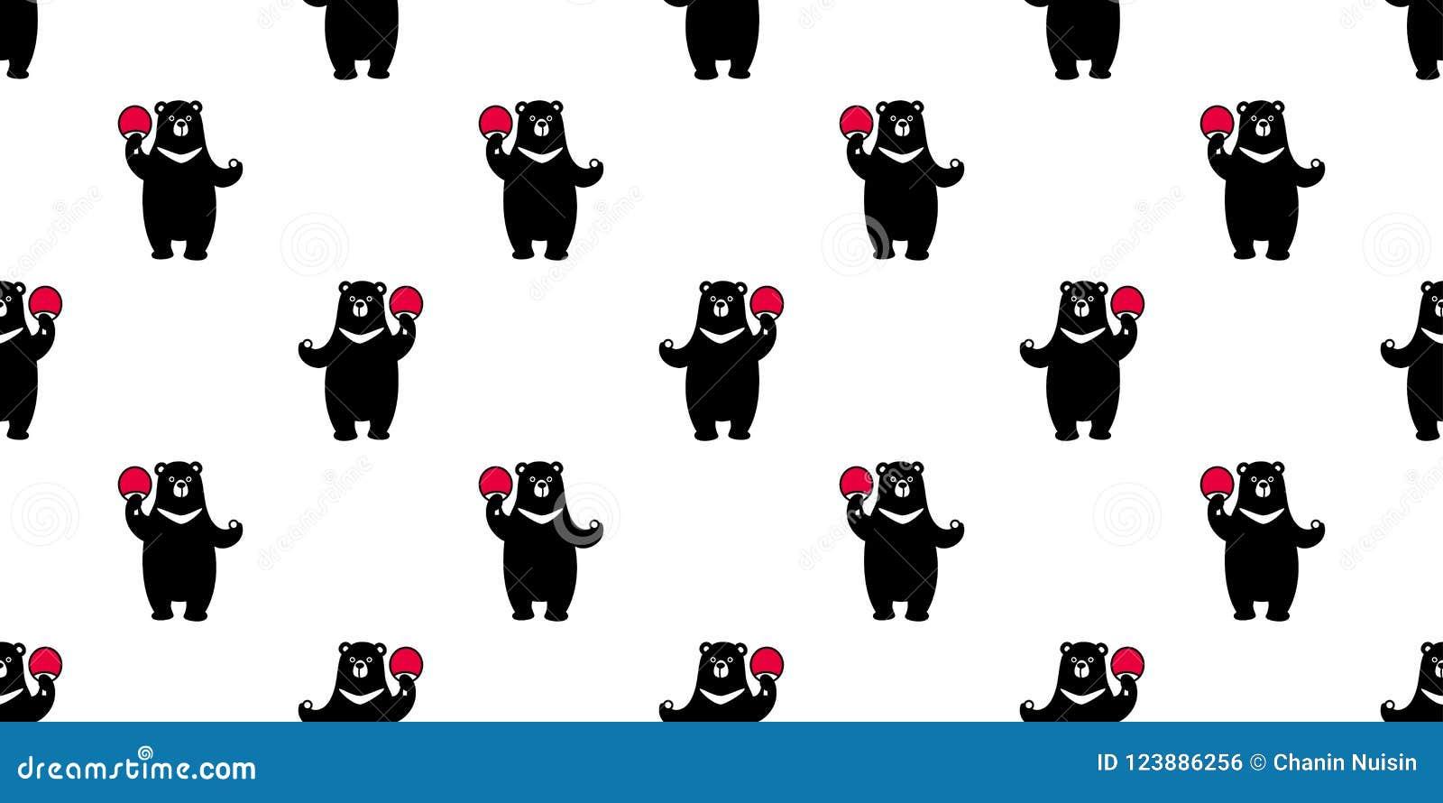 Bear Seamless Pattern Polar Bear Vector Ping Pong Wallpaper