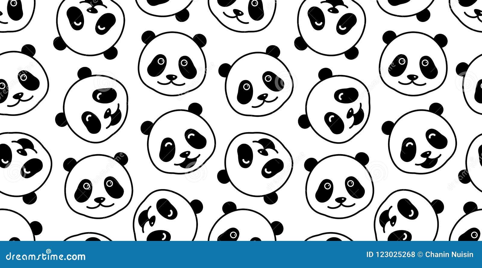 Bear Seamless Pattern Vector Panda Isolated Polar Bear Head Doodle