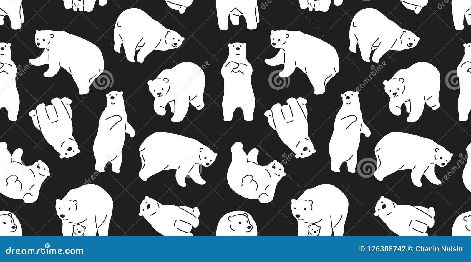 Bear Seamless Pattern Vector Polar Bear Panda Teddy Scarf Tile