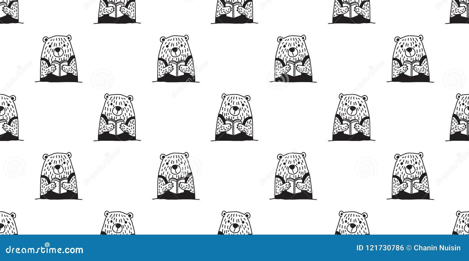 Bear Seamless Pattern Vector Polar Bear Reading Book Isolated