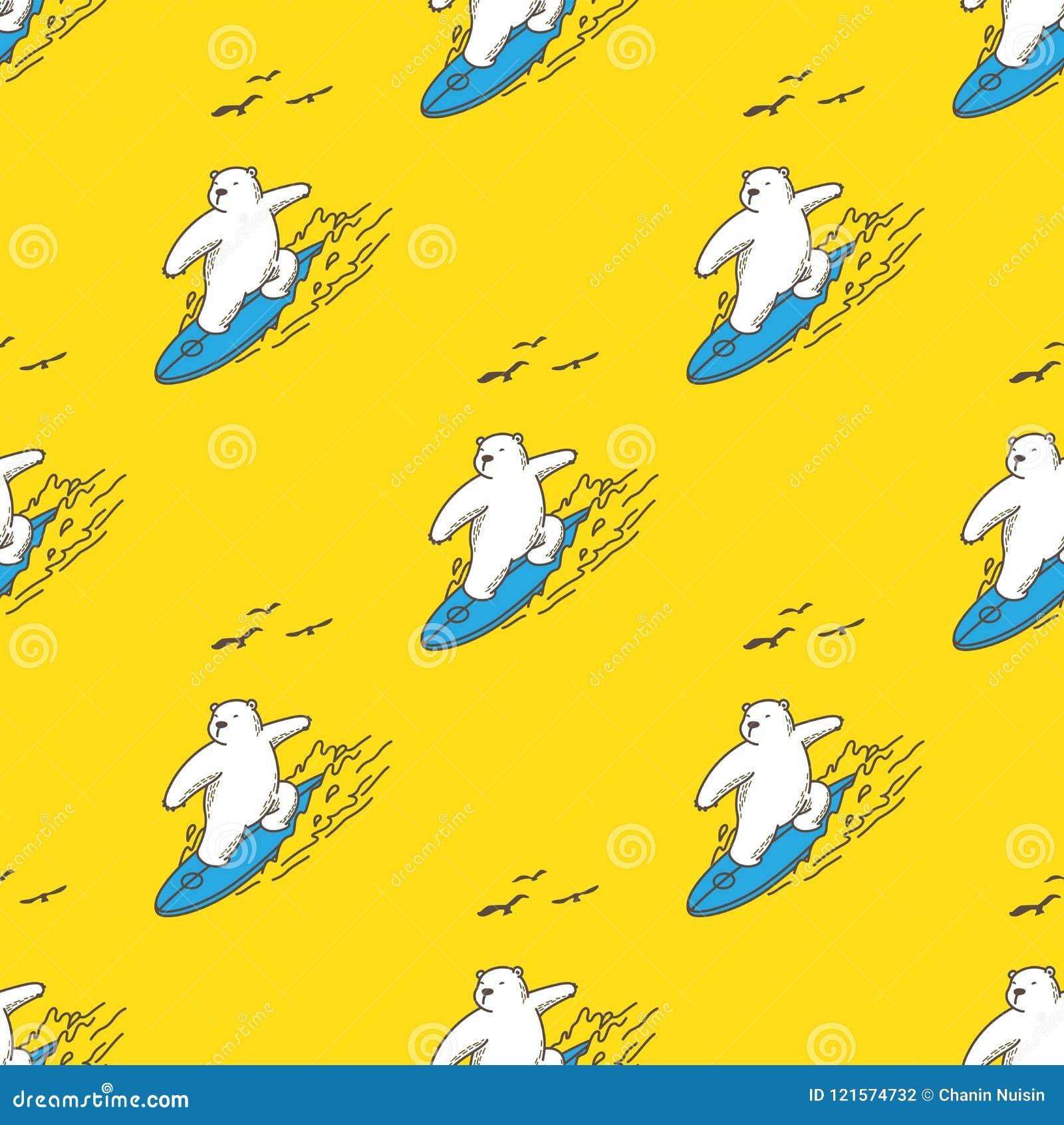 Bear Polar Bear Seamless Pattern Surf Ocean Vector Wallpaper