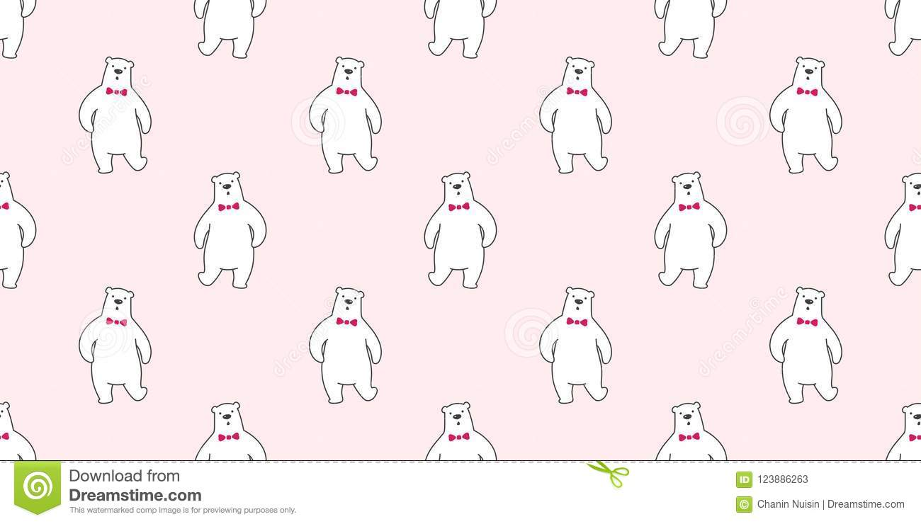 Bear Seamless Polar Vector Pattern Isolated Bow Tie Wallpaper Background