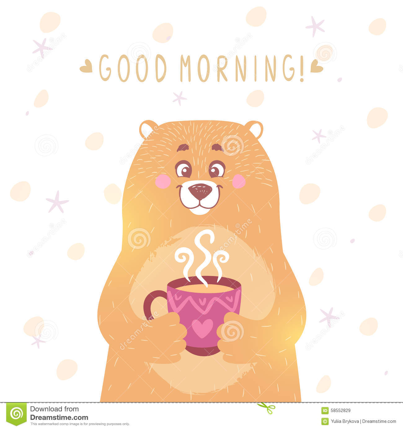Good Morning Beautiful Brown Ale : Bear tea stock vector image of brown graphic baby
