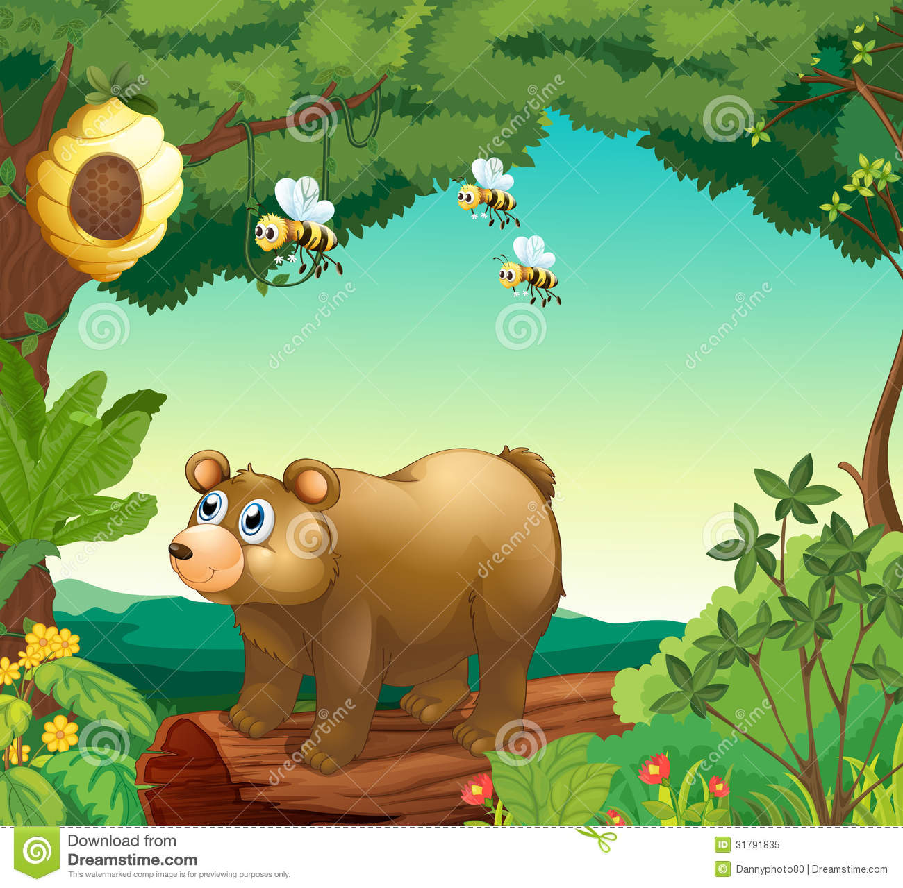 A bear with three bees inside the forest
