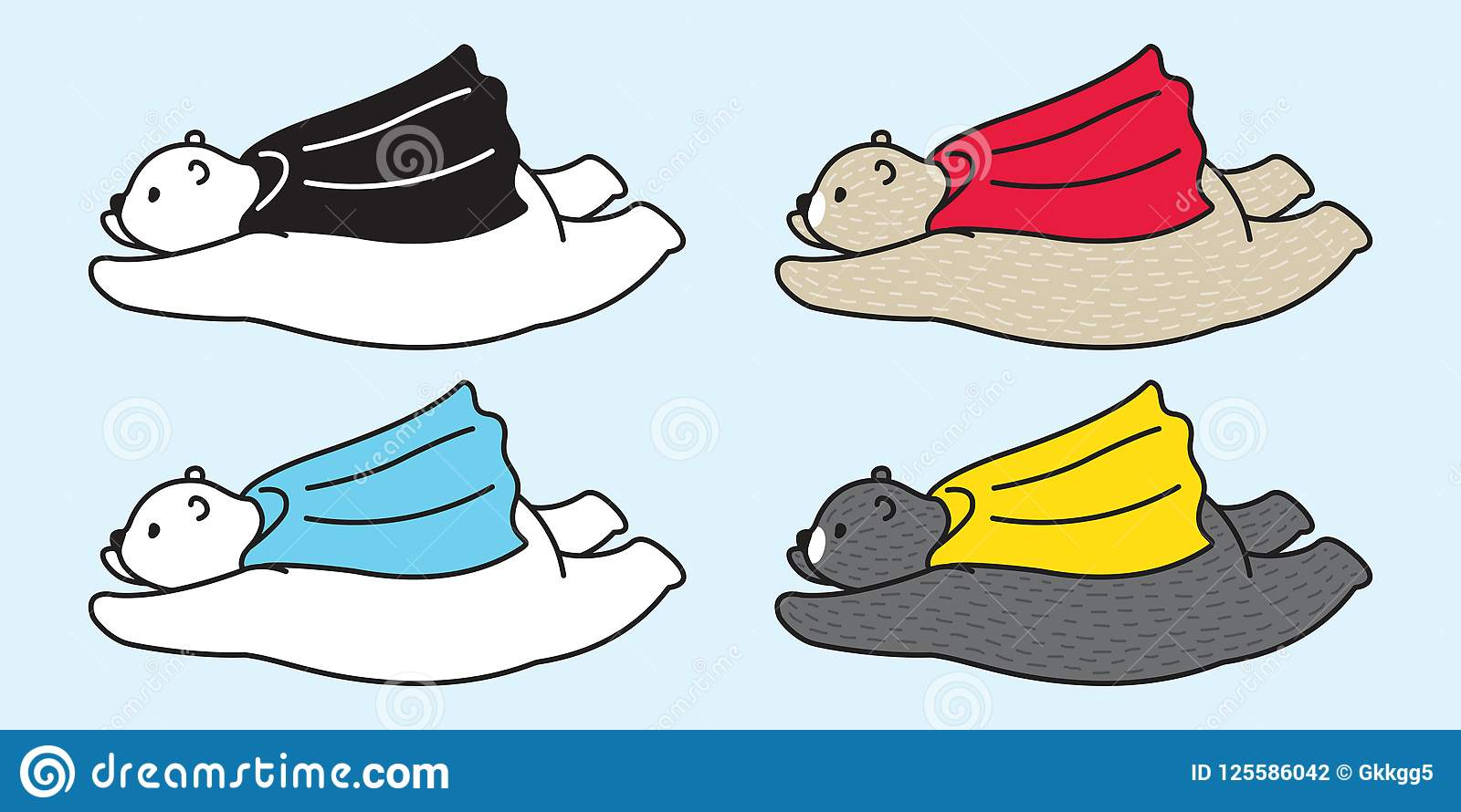 Bear vector logo icon polar bear panda flying capes illustration cartoon doodle
