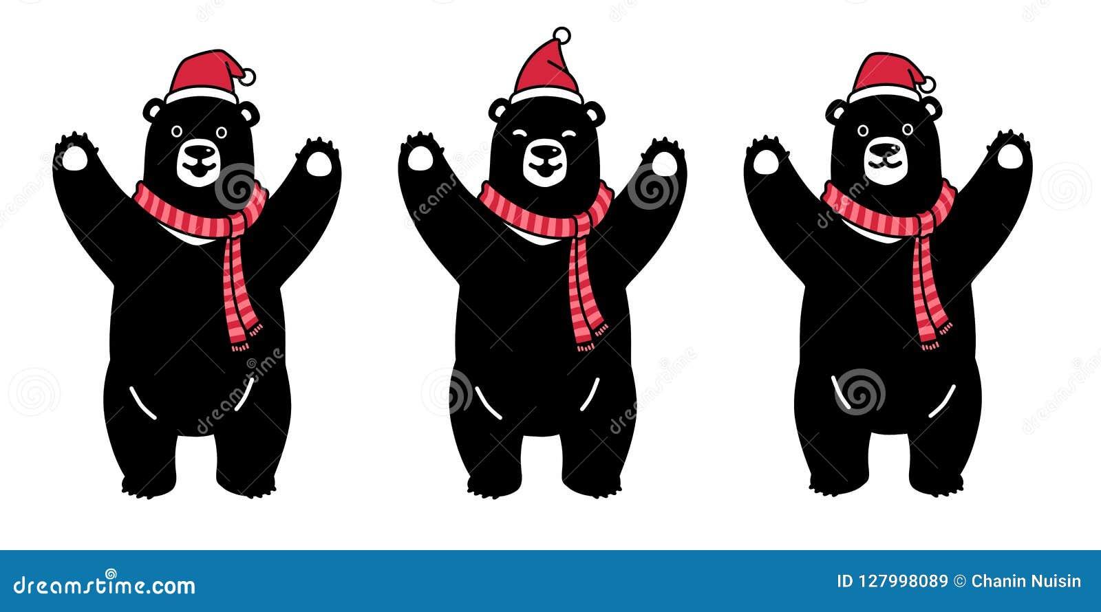 Bear vector polar bear Christmas Santa Claus Xmas scarf cartoon character icon logo illustration symbol graphic black