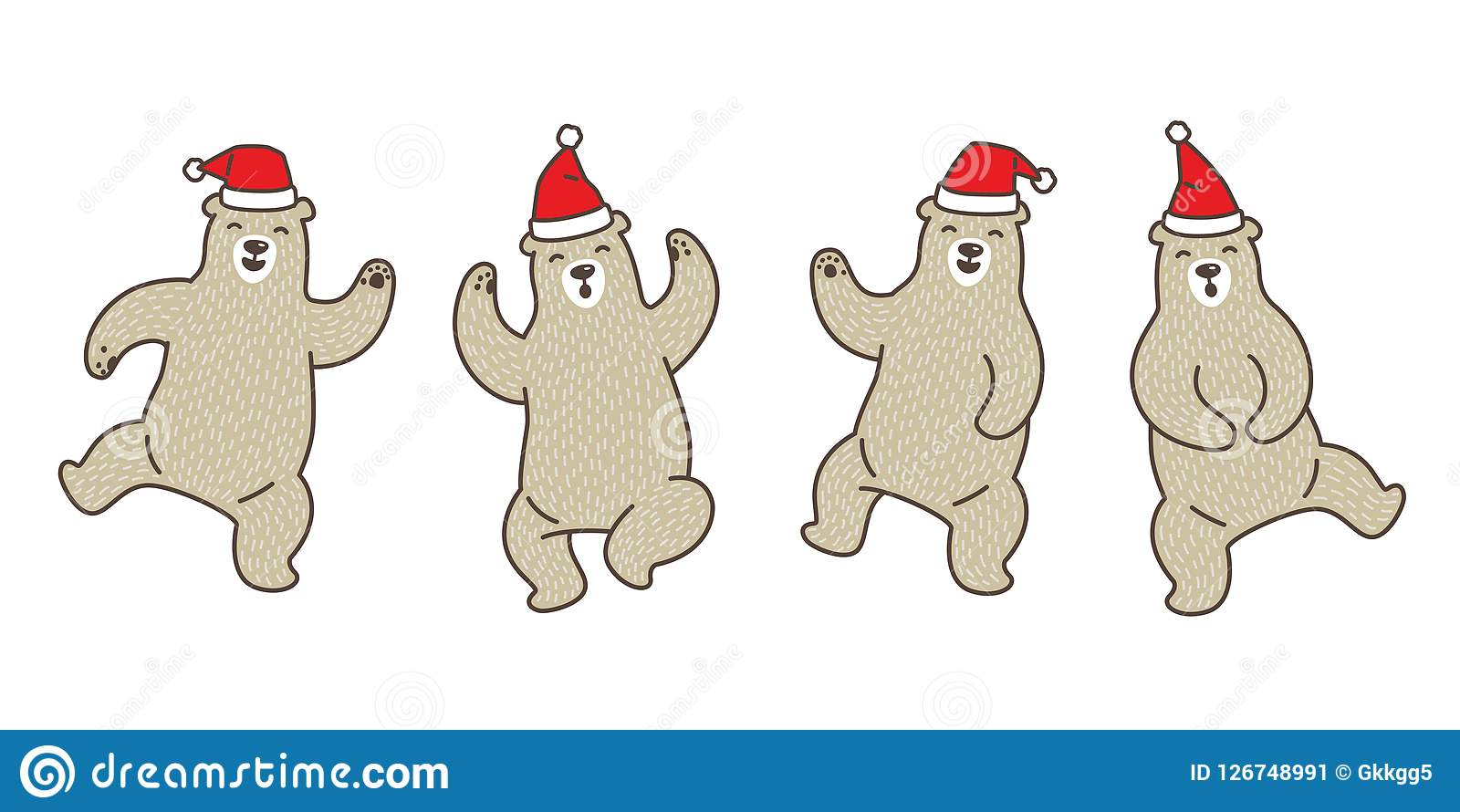 Christmas Dancing Cartoon.Bear Vector Polar Bear Christmas Santa Claus Dance Cartoon
