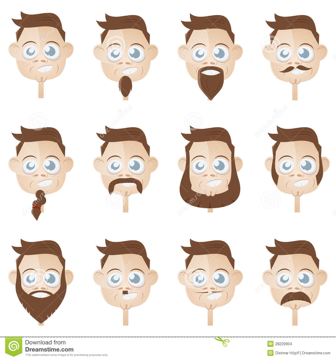 Beard Head Collection Stock Vector. Image Of Person, Comic