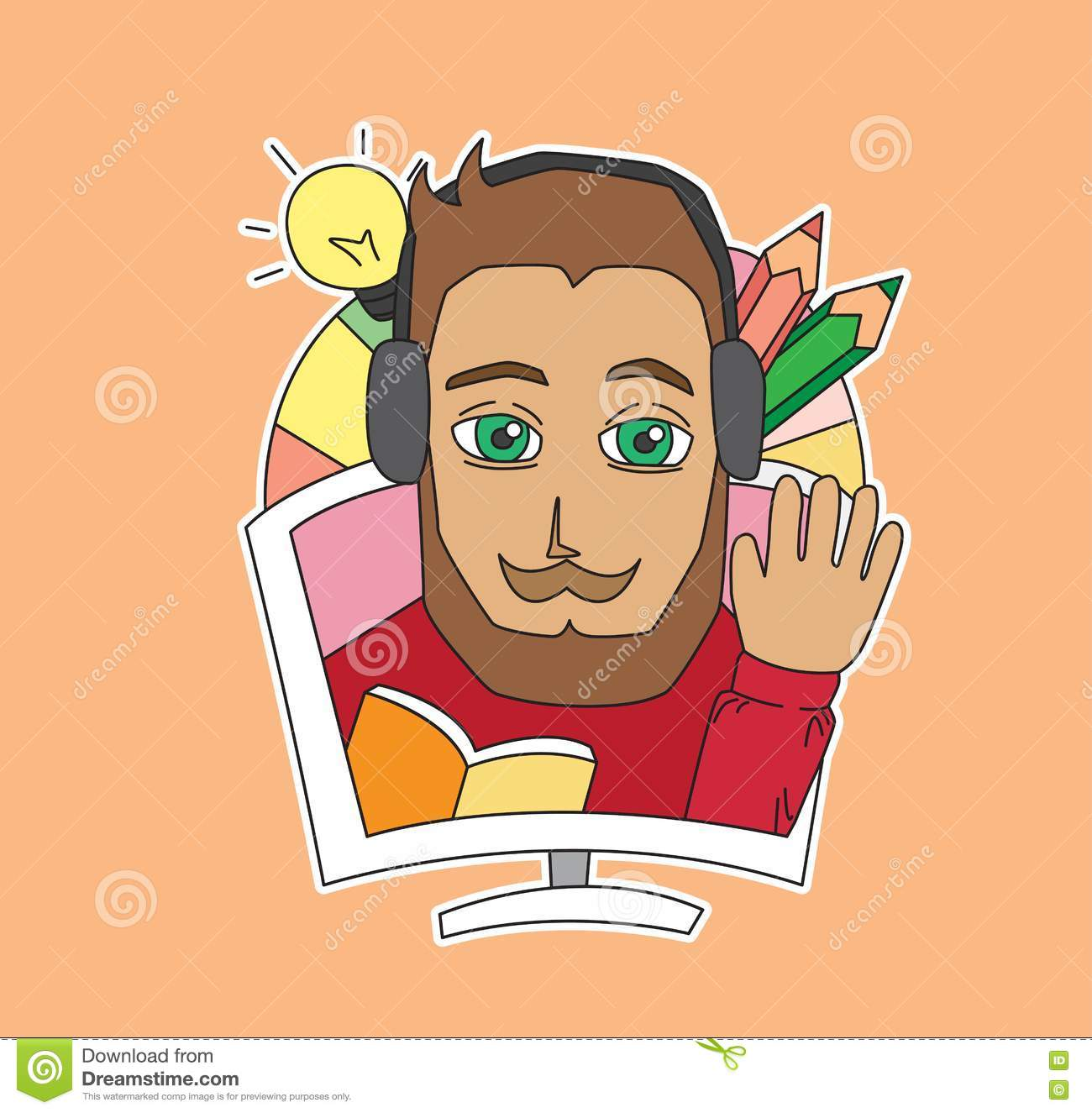 Beard man character sticker cartoon vector illustration