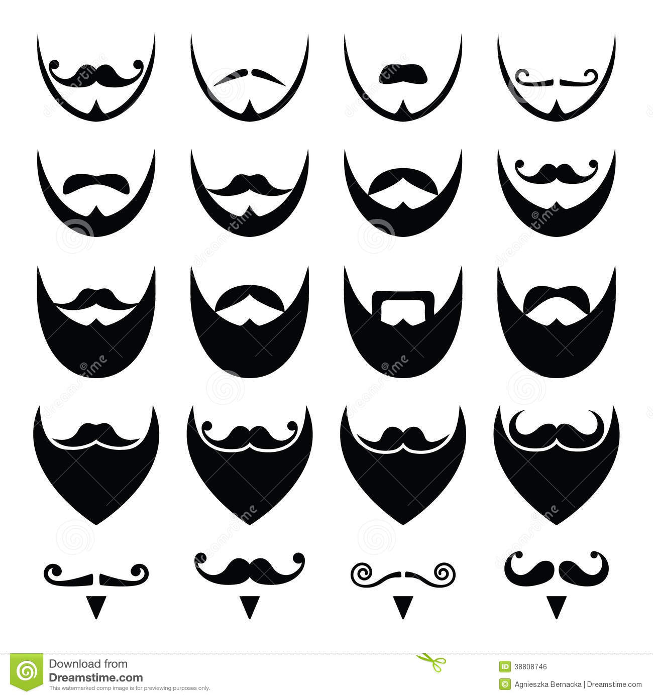 beard with moustache or mustache icons set stock illustration image 38808746. Black Bedroom Furniture Sets. Home Design Ideas