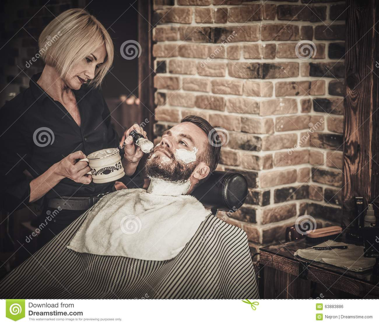 beard shaving in barber shop royalty free stock photography 63883829. Black Bedroom Furniture Sets. Home Design Ideas