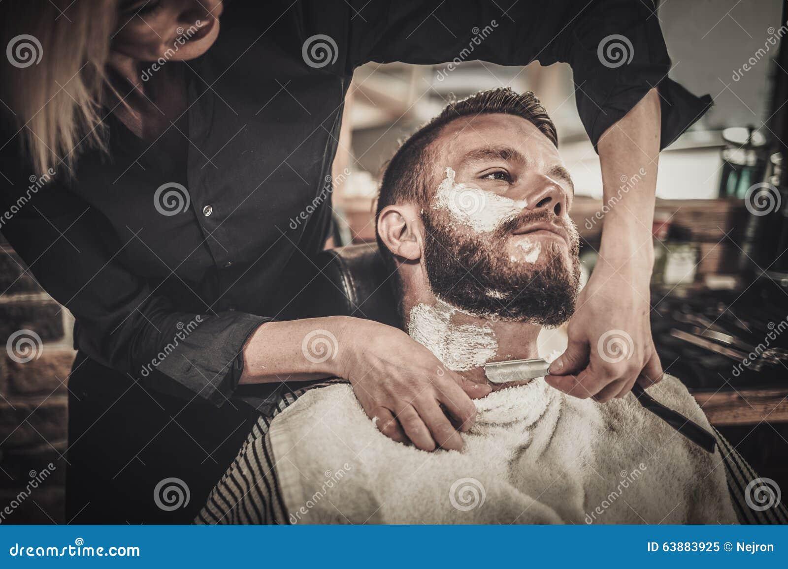 beard shaving in barber shop stock image image 63883925. Black Bedroom Furniture Sets. Home Design Ideas