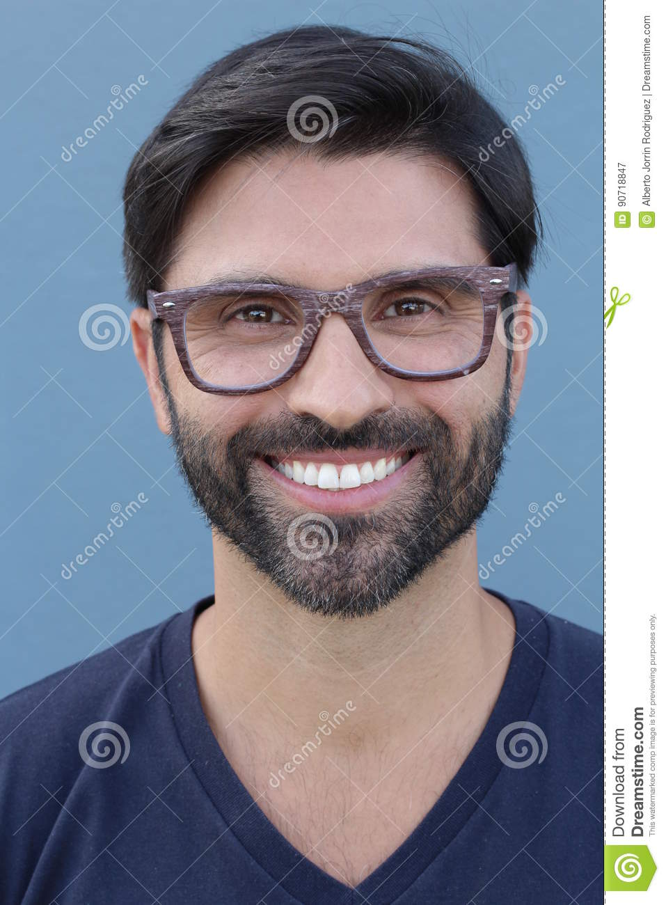 07f02245399c Bearded Attractive Male With Stylish Eyeglasses Stock Image - Image ...