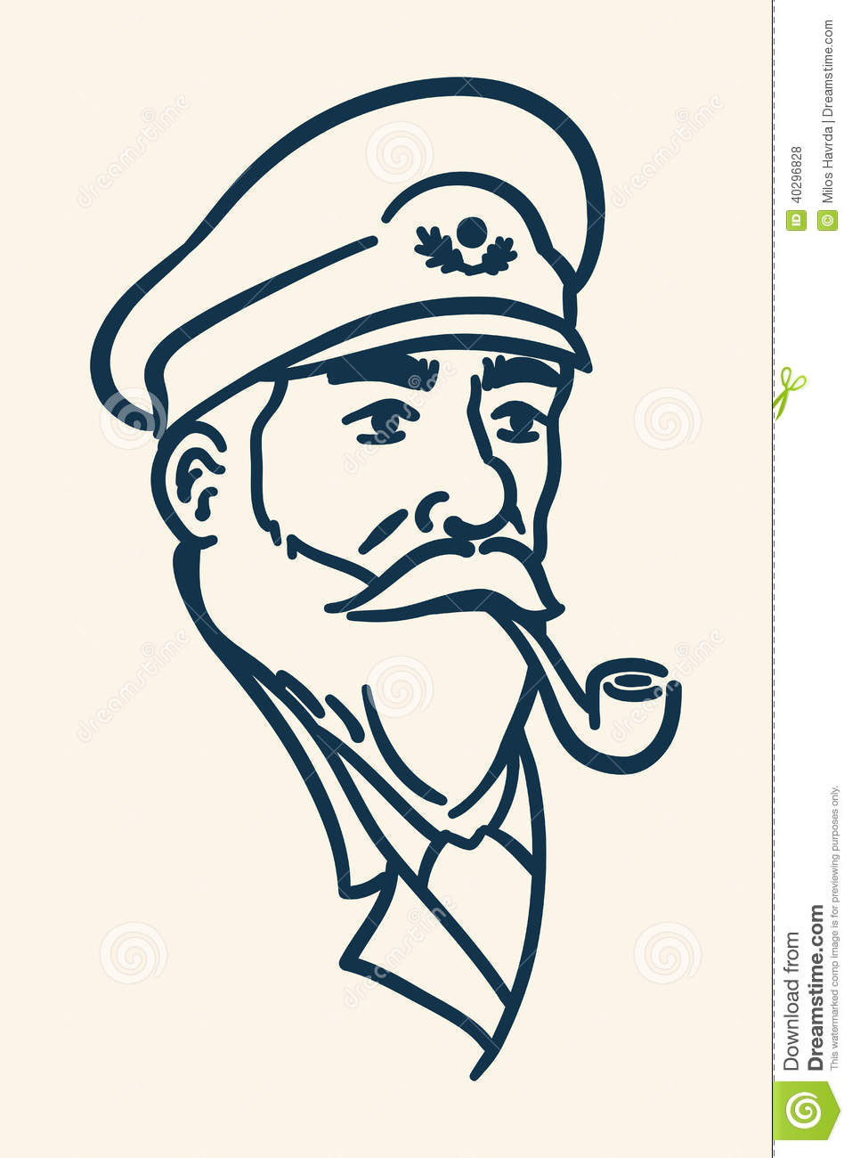 Bearded Boat Captain Smoking Pipe Illustration Stock Vector - Image: 40296828