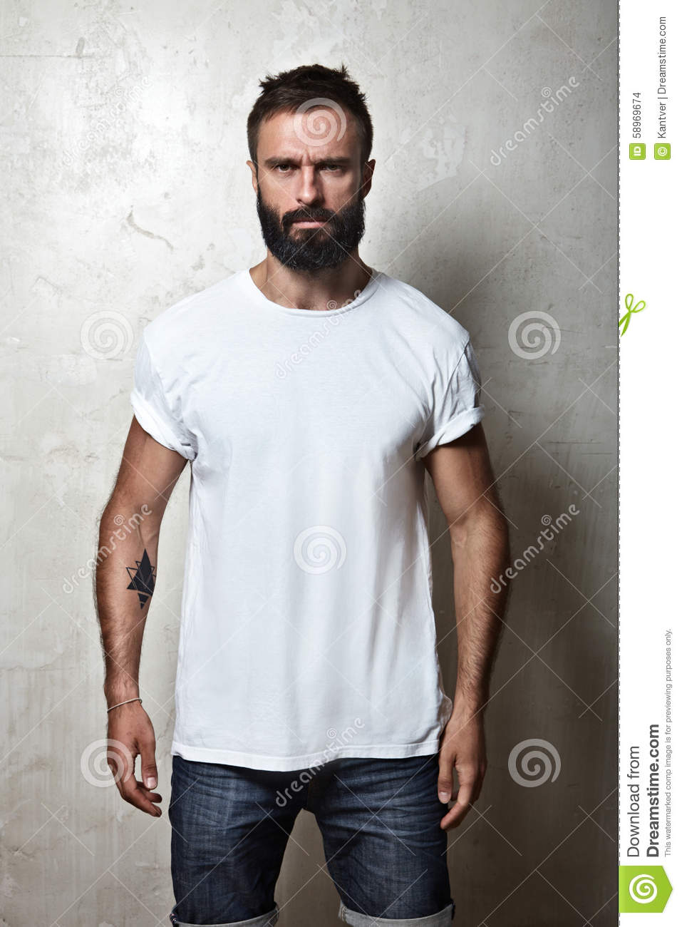 Bearded Guy Wearing White Blank T-shirt Stock Photo - Image: 58969674