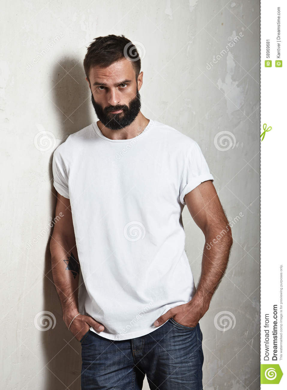 Bearded Guy Wearing White T-shirt Stock Photo - Image: 58969681