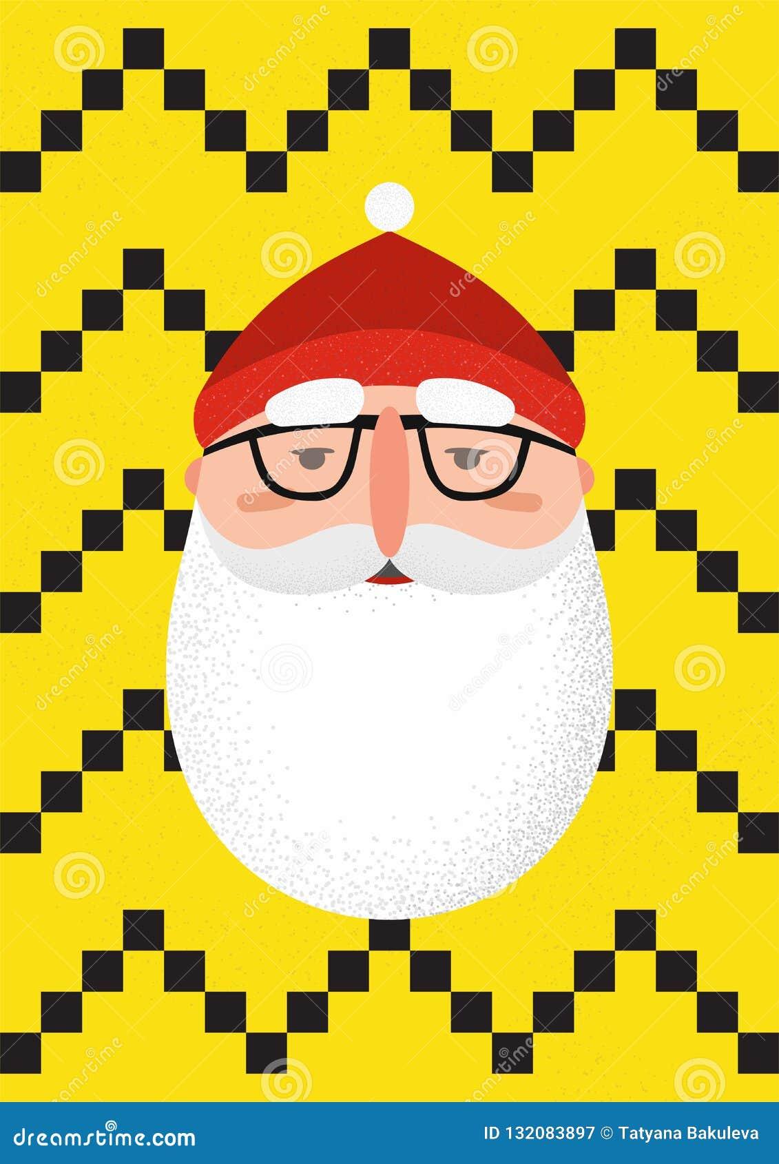 dd2c60835ed Bearded Hipster Santa Claus Stock Vector - Illustration of event ...