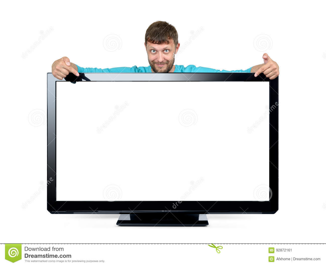 Bearded man advertises a widescreen TV on white background. File contains a path to isolation.