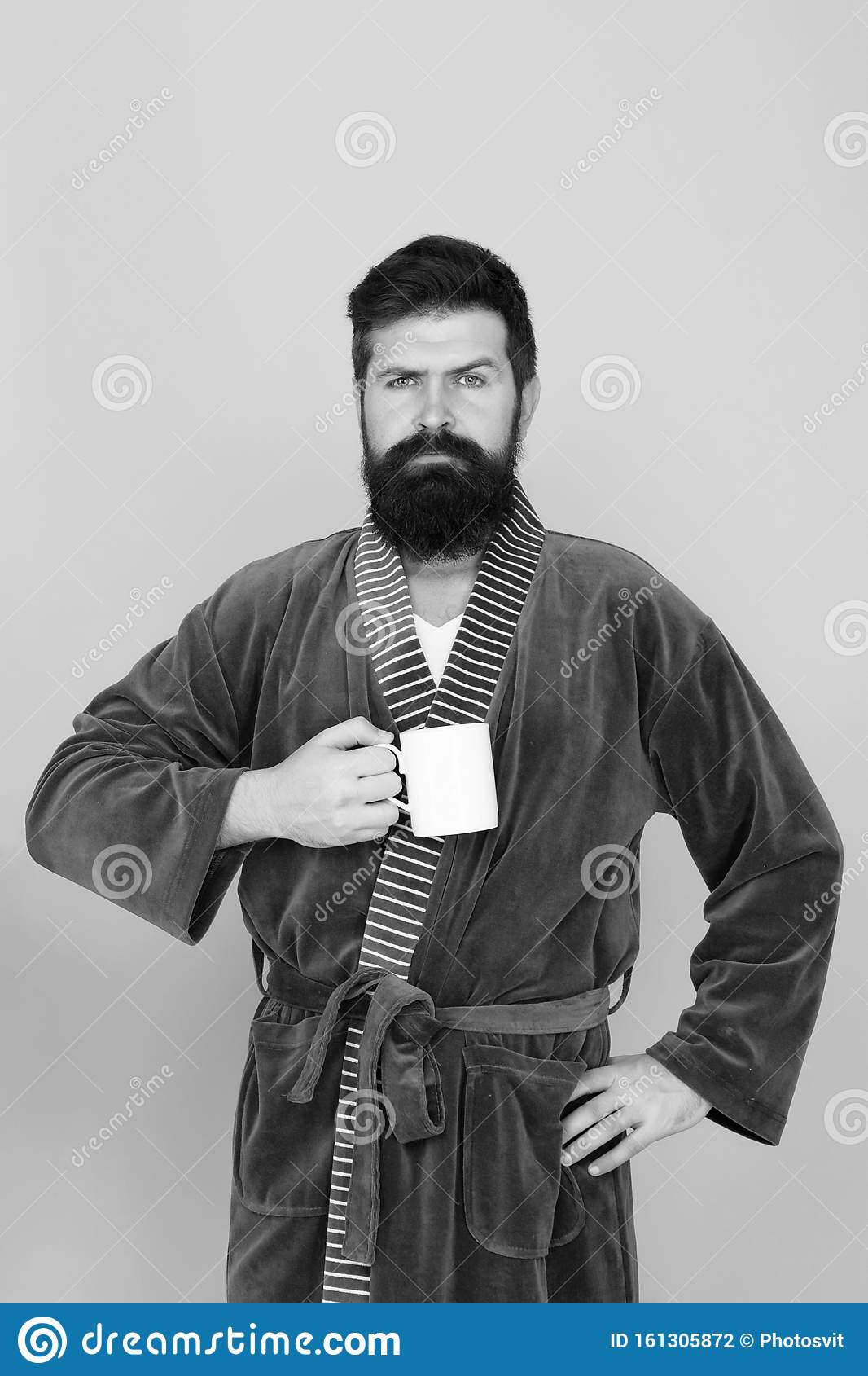 Bearded Man In Bathrobe With Mug Breakfast Concept Man With Beard In Blue Bathrobe Enjoy Morning Coffee Or Tea Guy In Stock Photo Image Of Morning Stand 161305872