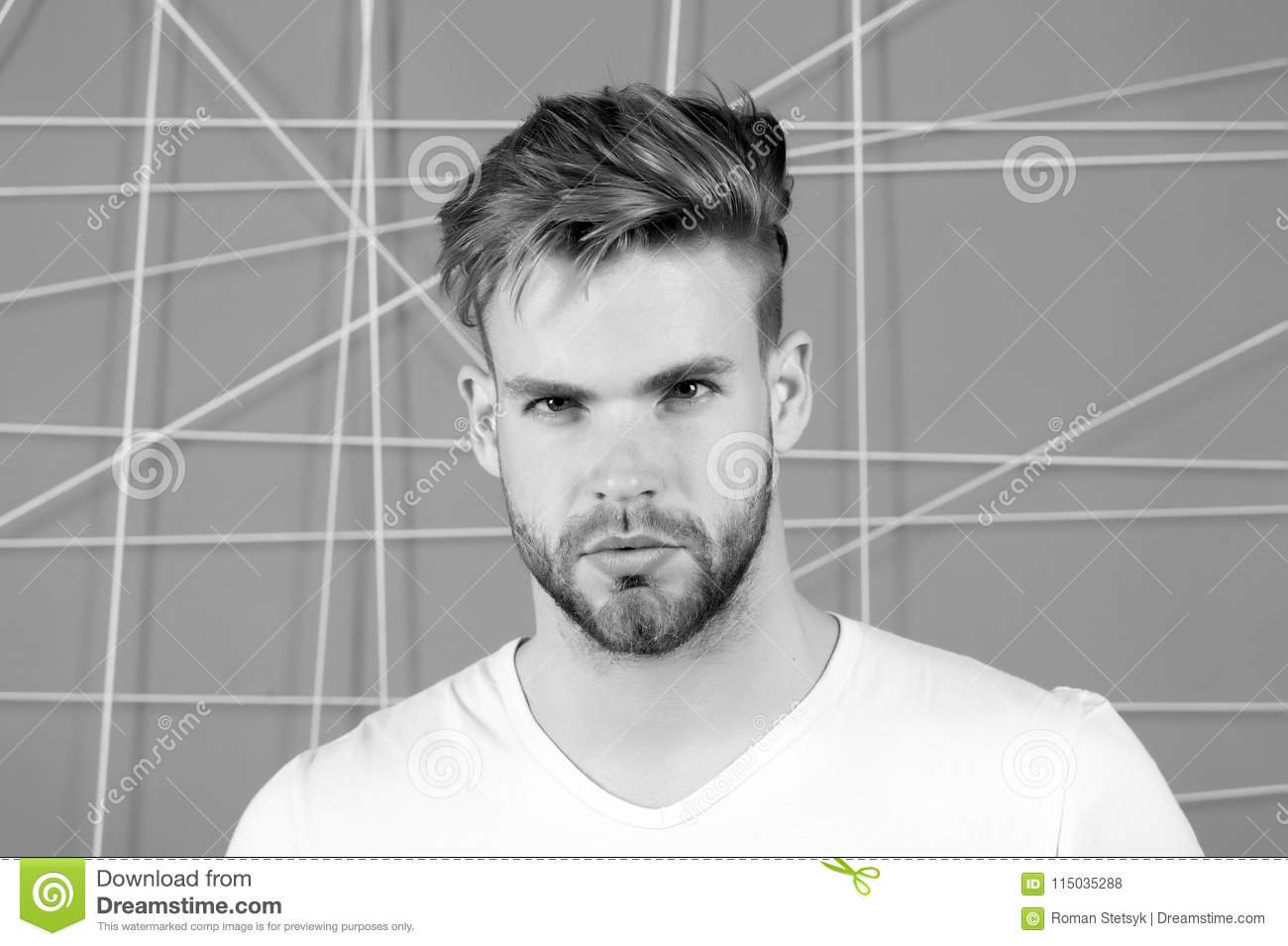 Bearded Man With Blond Hair And Haircut Macho With Beard