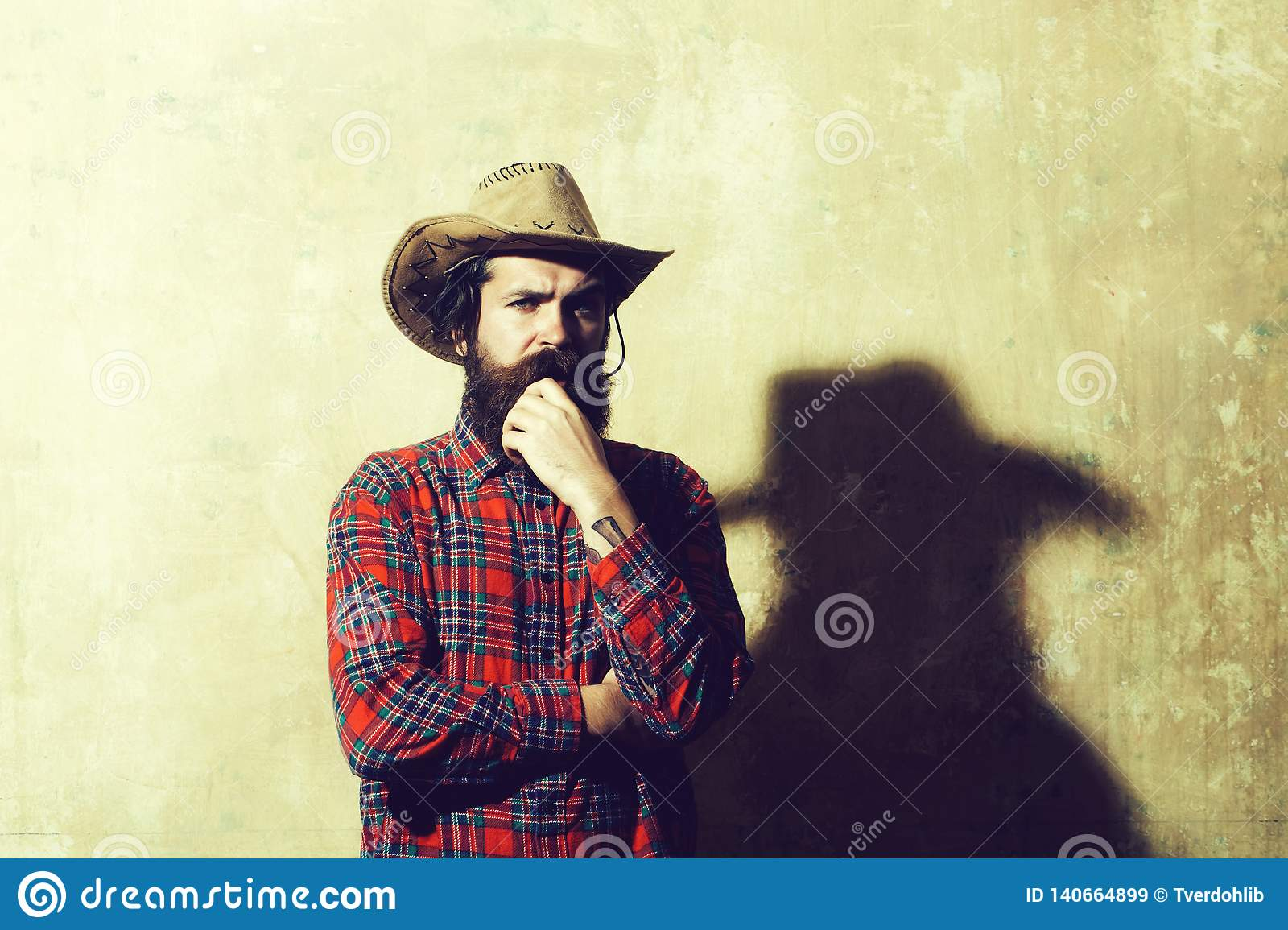 c329c8ec537 Bearded Man In Cowboy Hat And Black Shadow On Wall Stock Image ...