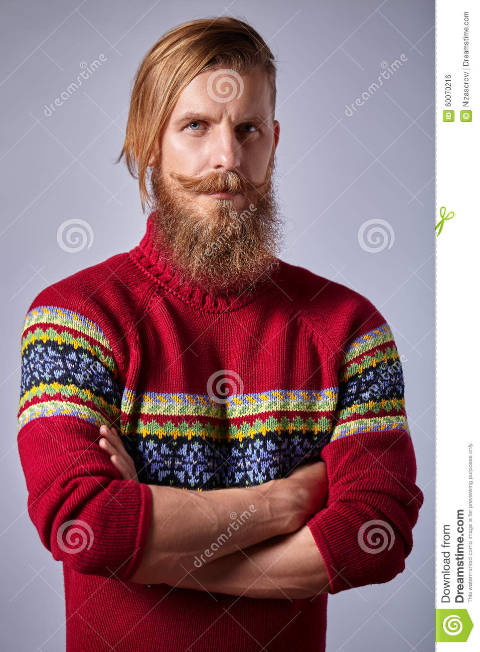 Bearded Man With Curled Mustache Knit Red Sweater Standing Stock ...