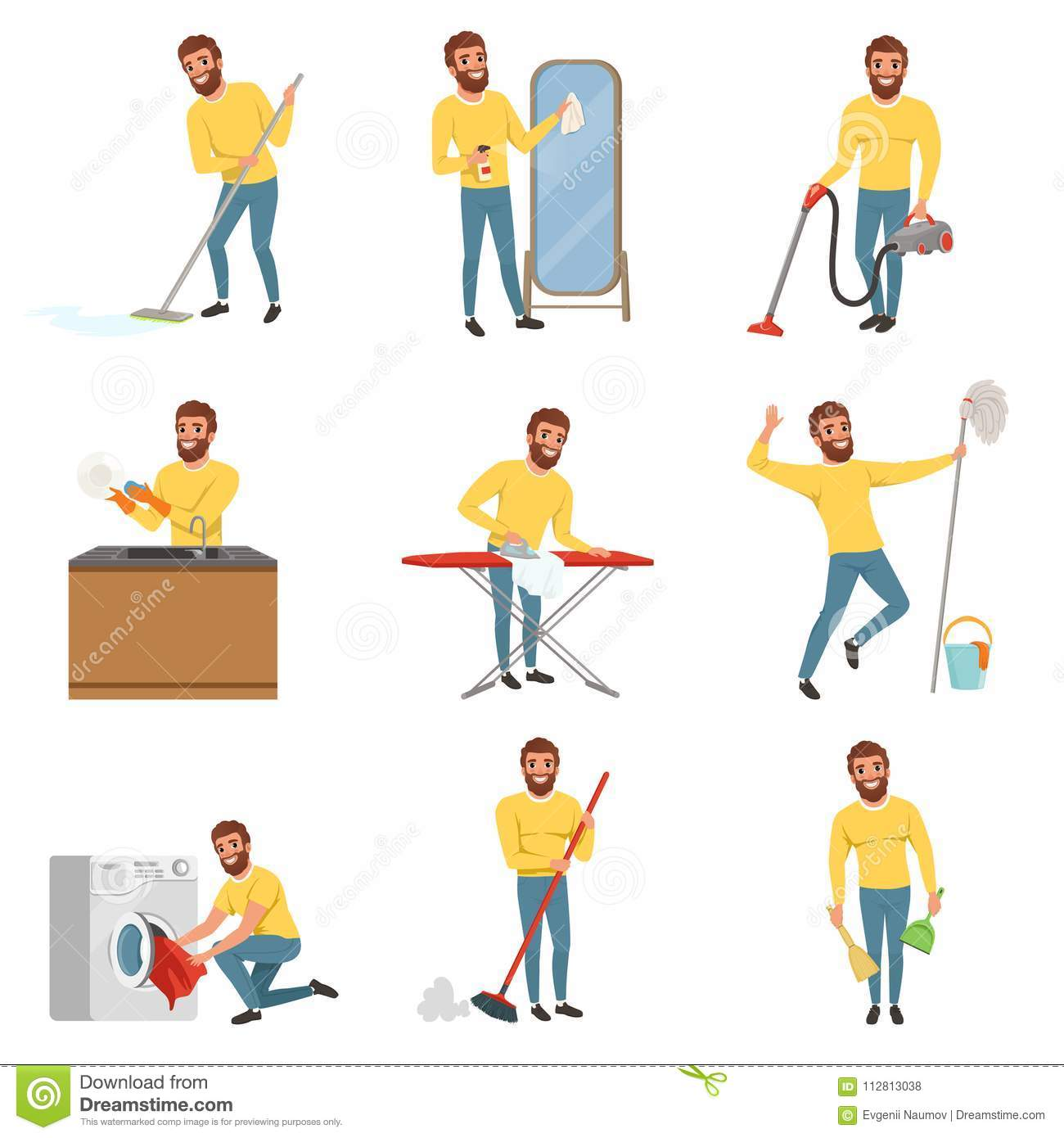 bearded man with different household chores cleaning floor with mop