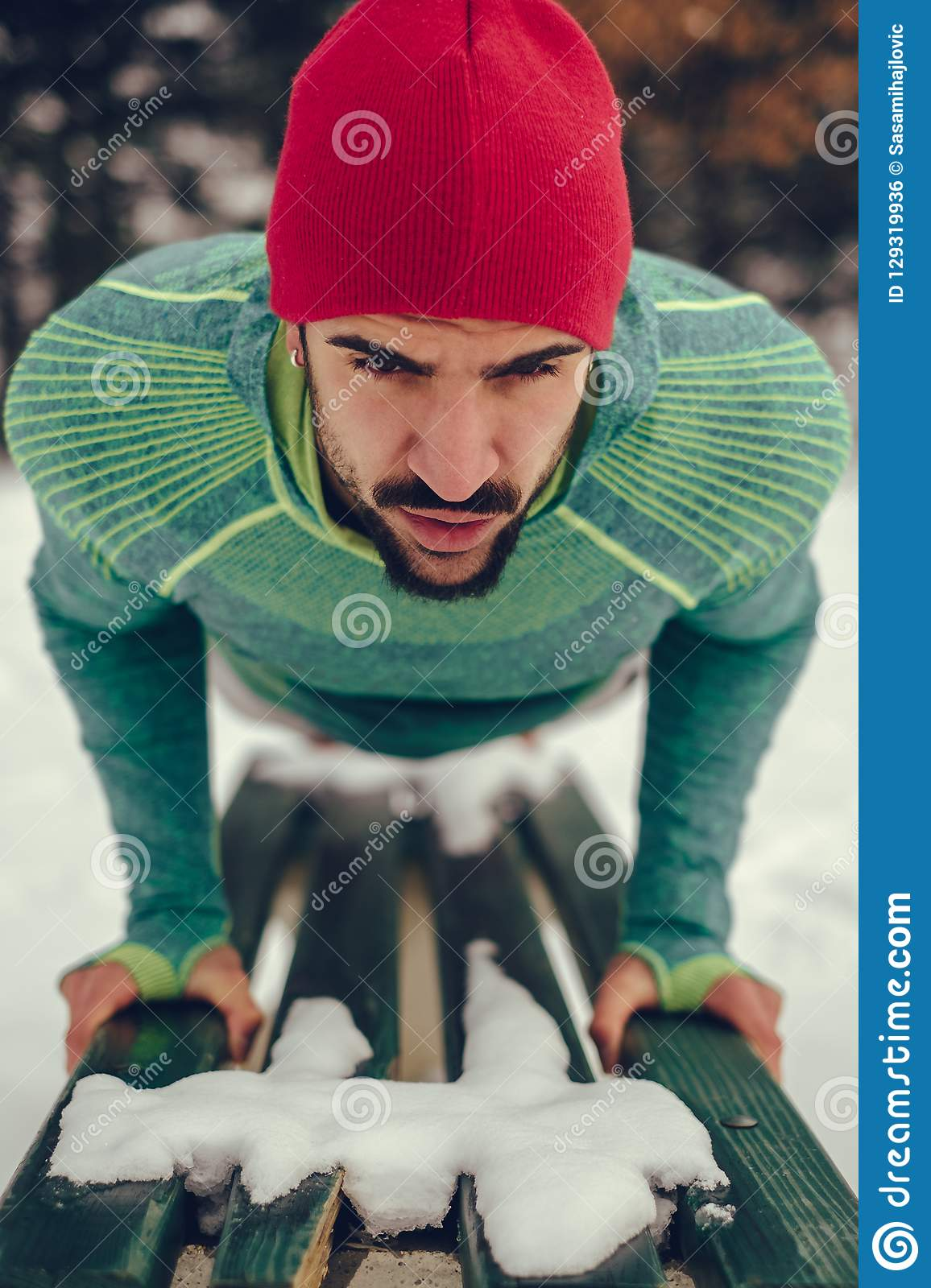 Man Doing Push Ups On A Park Bench In Winter Stock Photo - Image of ... 500c4caf9c6