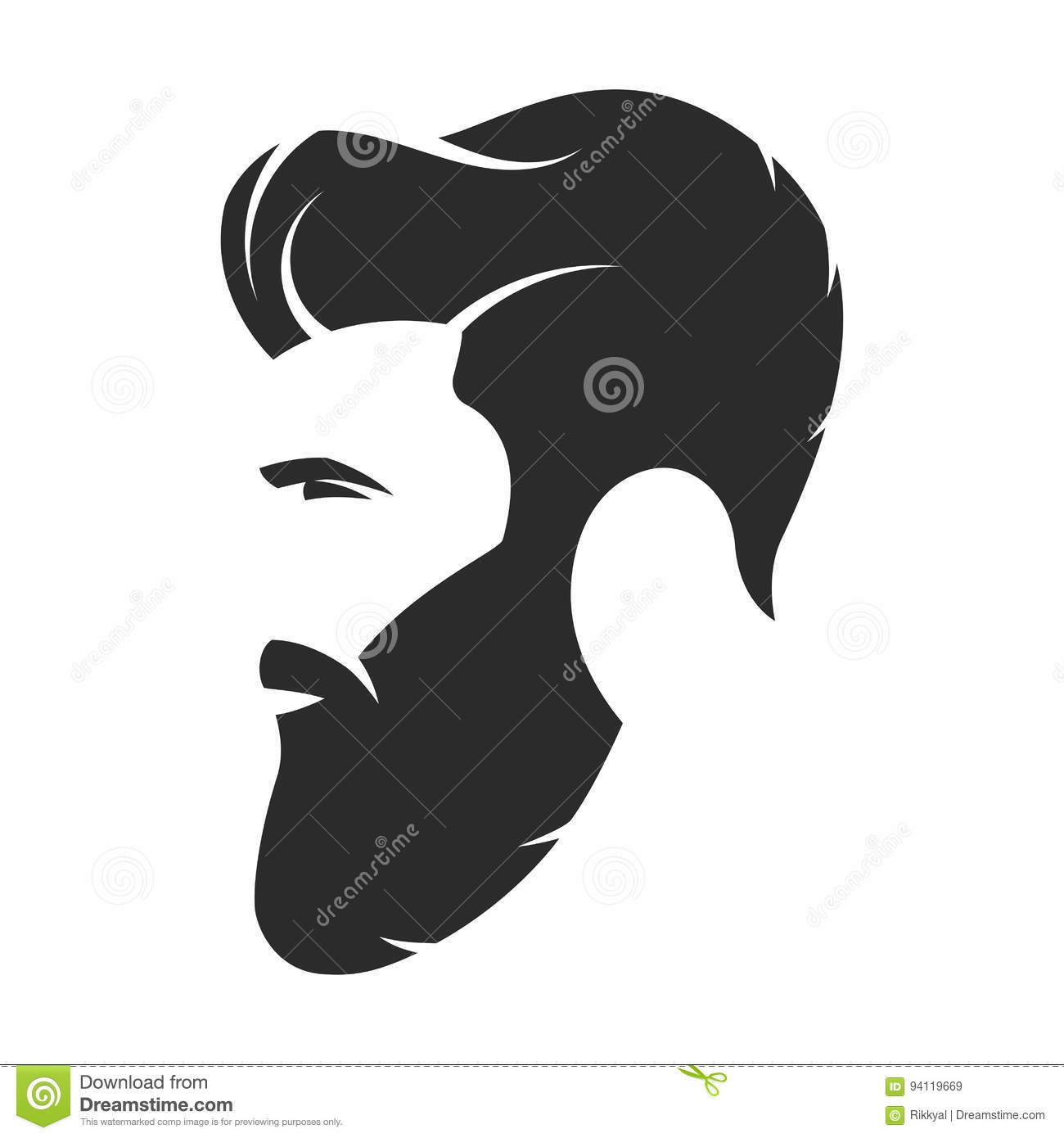 Bearded Man Hipster Style Fashion Silhouette Avatar Emblem Stock Vector Image 94119669